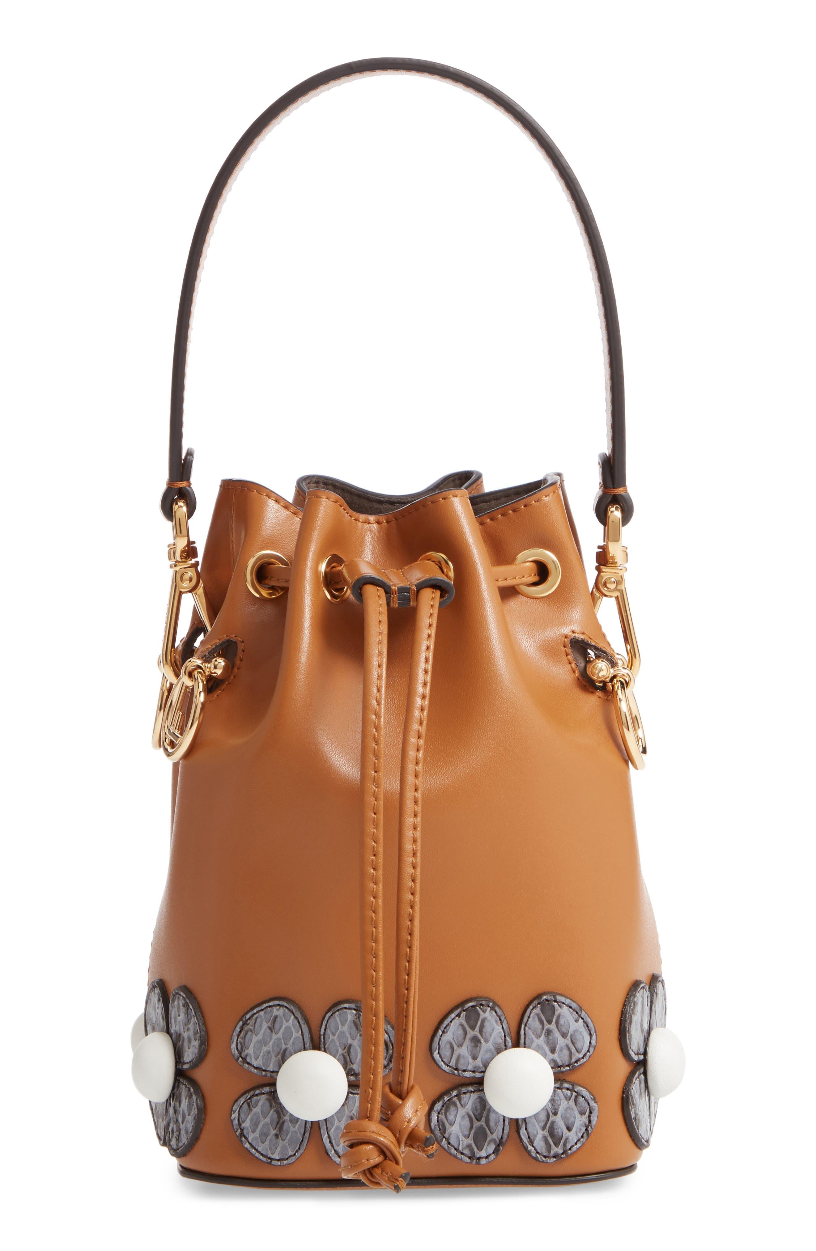 Mon Tresor Embellished Leather Bucket Bag,                             Main thumbnail 1, color,                             CARAMEL