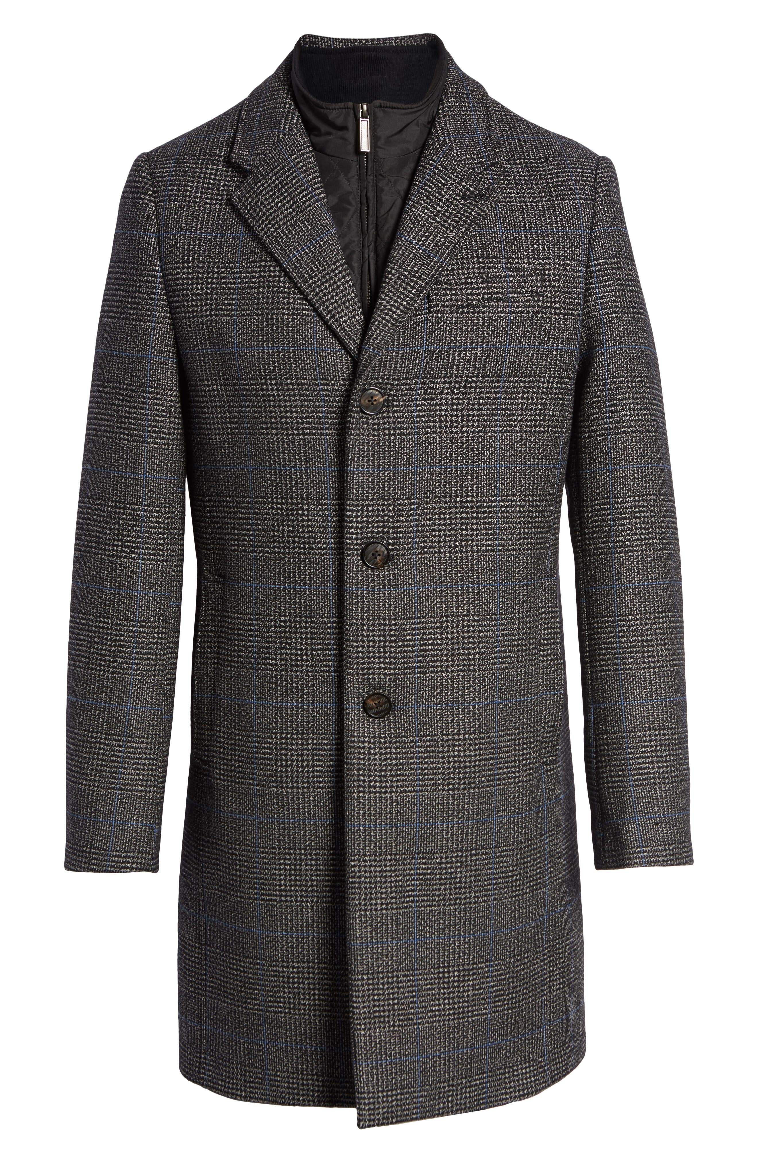 Plaid Stretch Wool & Cotton Overcoat,                             Alternate thumbnail 5, color,                             CHARCOAL
