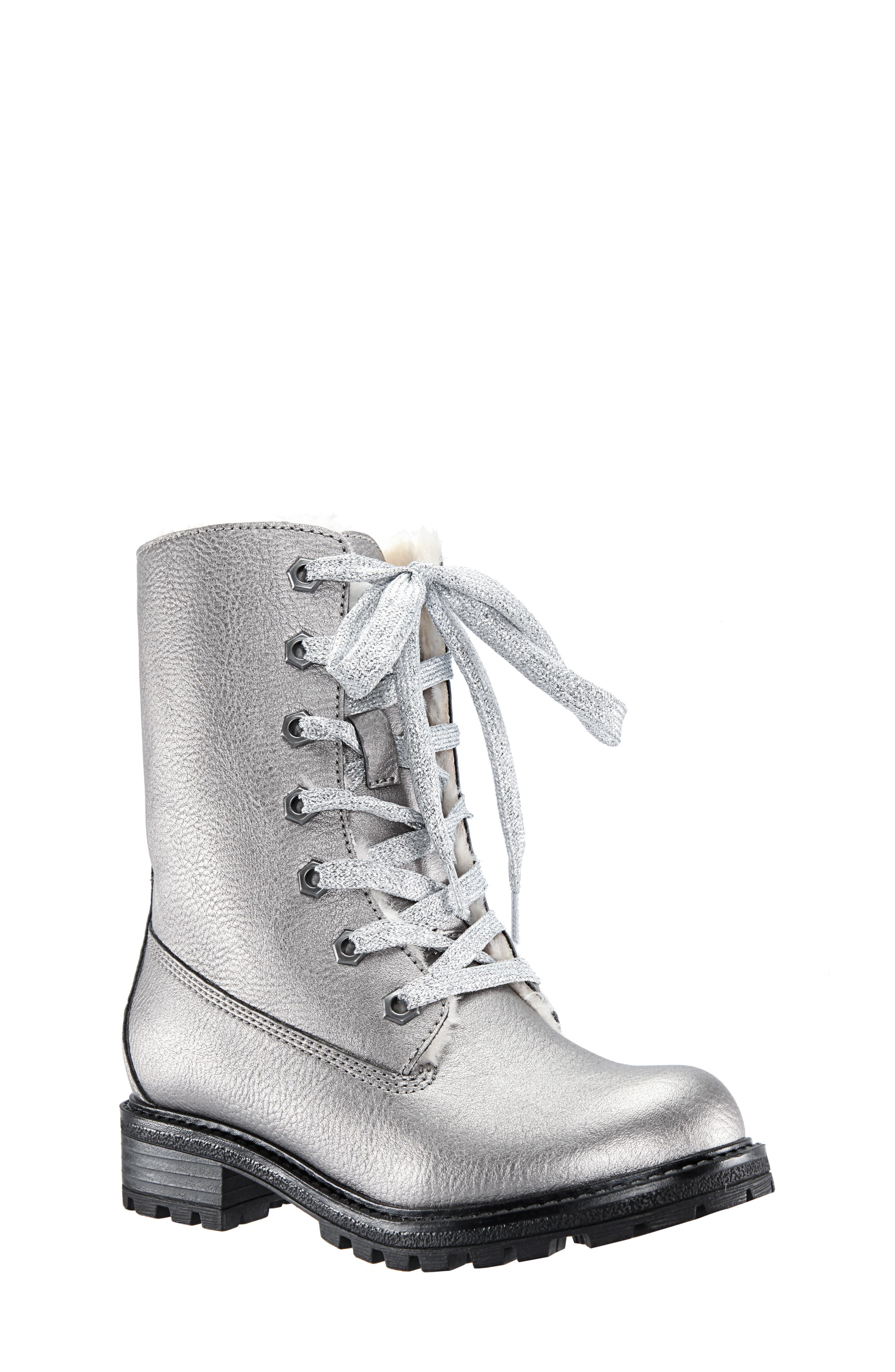 Elza Faux Fur Boot,                         Main,                         color, GUNMETAL TUMBLED