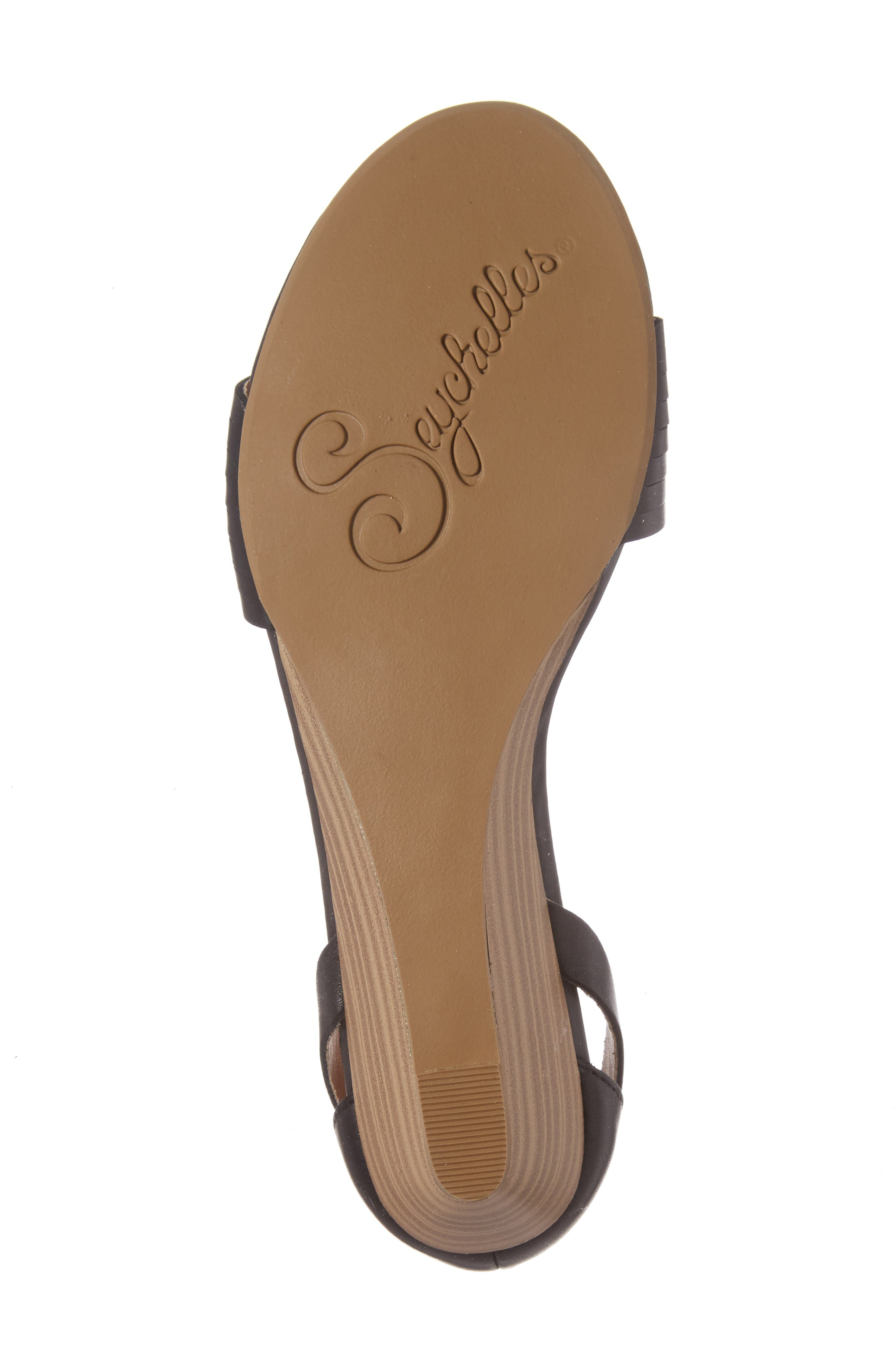Sincere Wraparound Wedge Sandal,                             Alternate thumbnail 6, color,                             001
