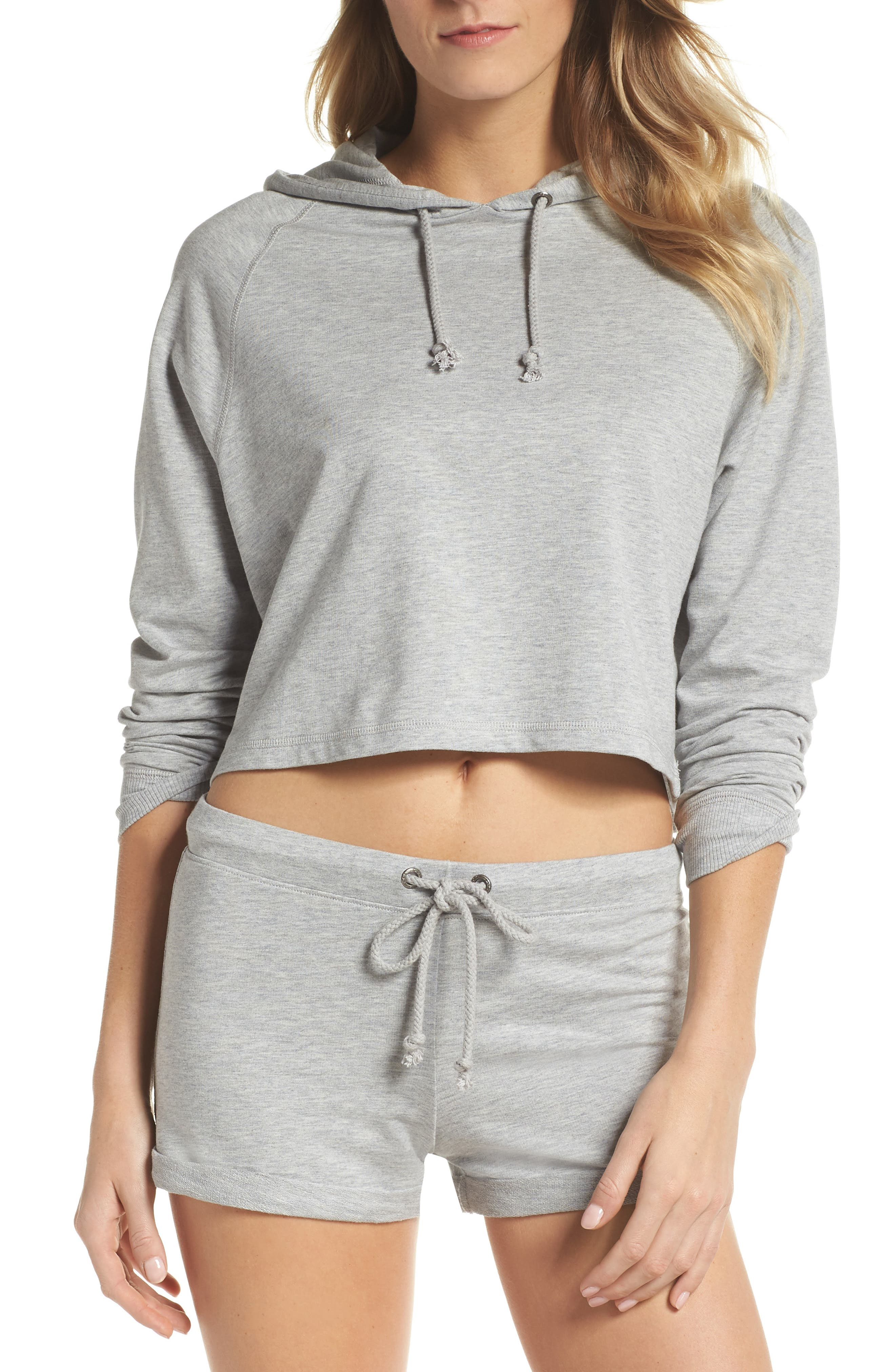 French Terry Crop Hoodie,                             Alternate thumbnail 14, color,