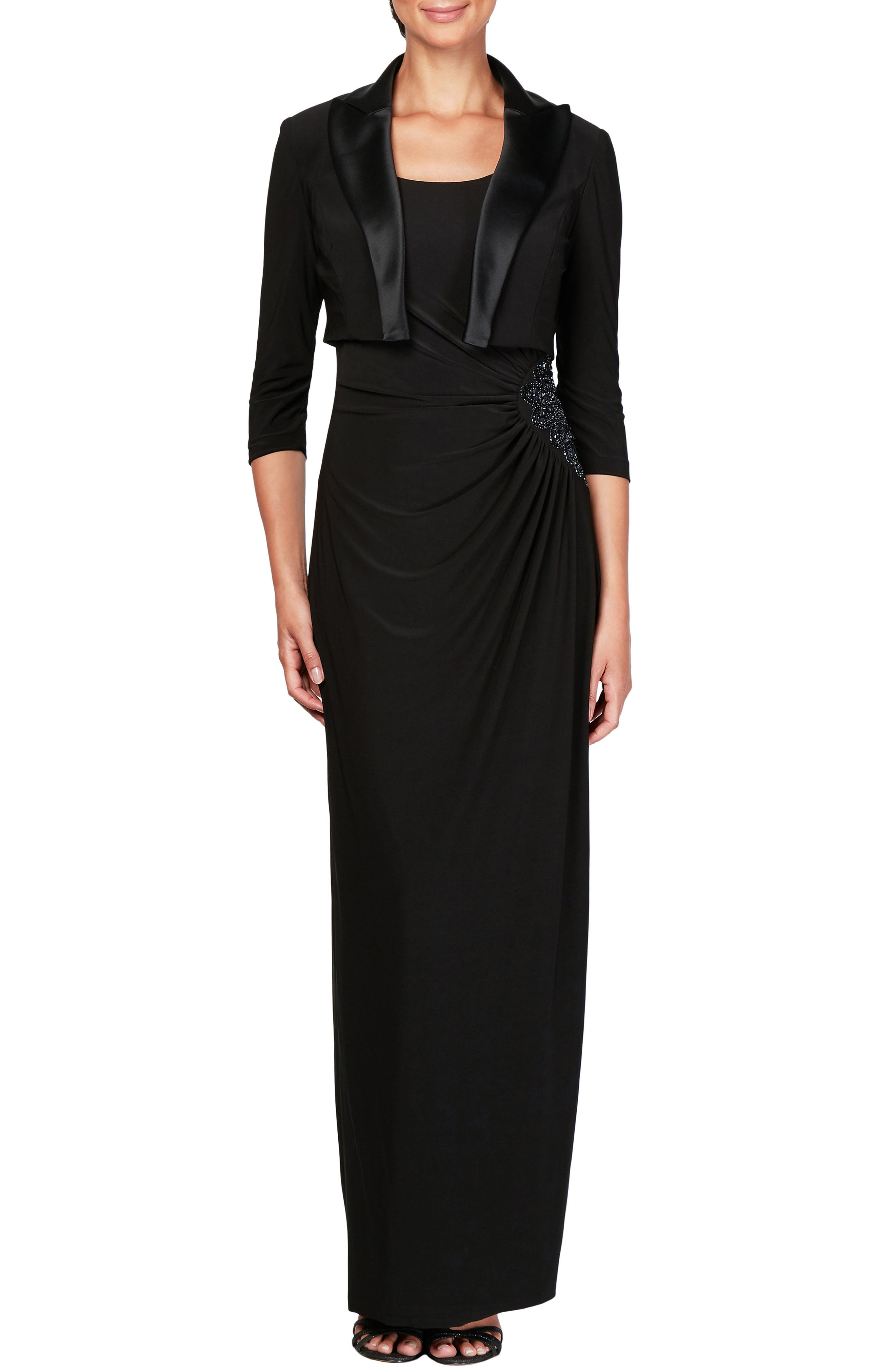 Ruched Maxi Dress & Jacket, Main, color, BLACK