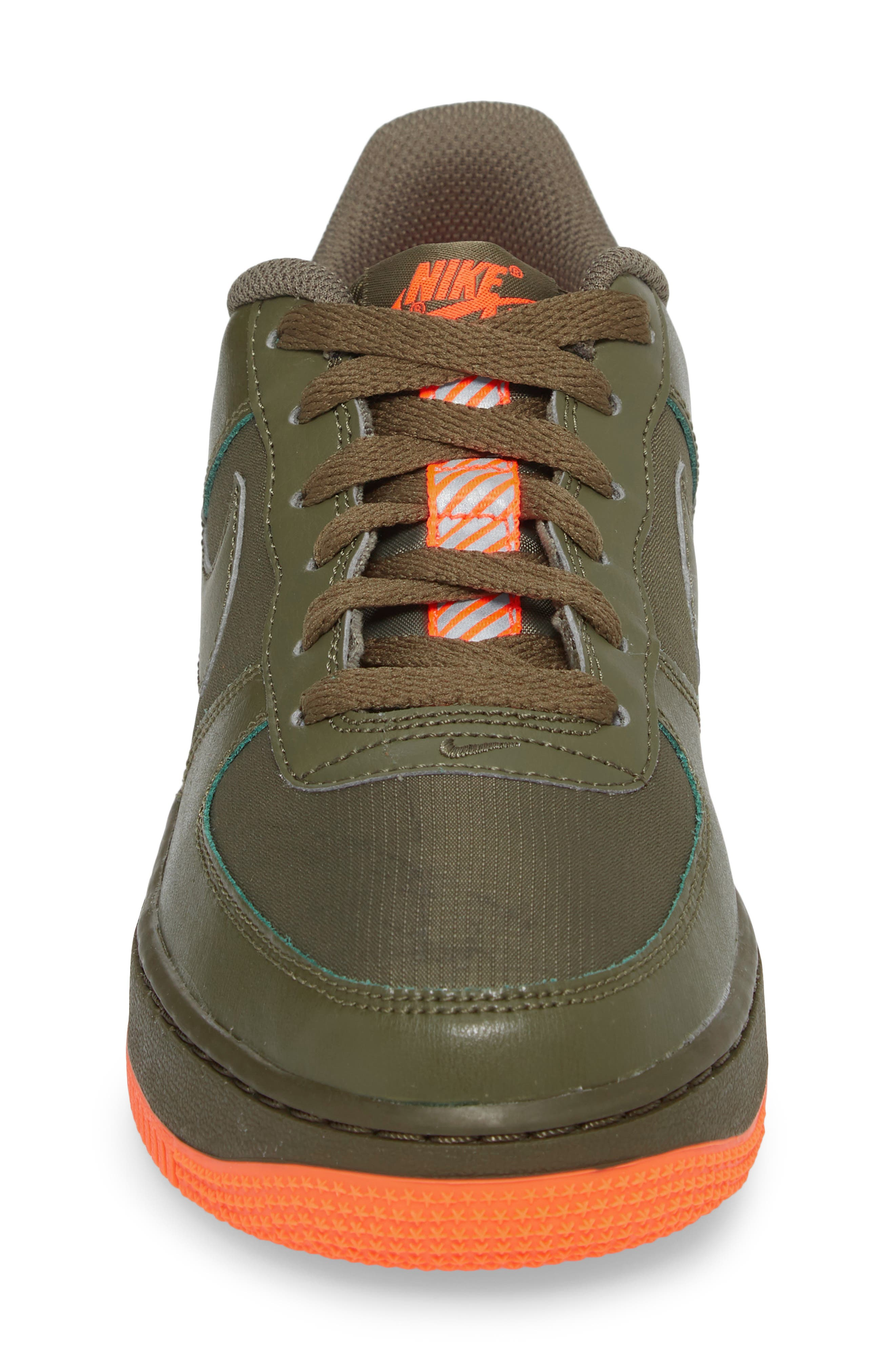 Air Force 1 LV8 Sneaker,                             Alternate thumbnail 4, color,                             MEDIUM OLIVE/ TOTAL CRIMSON