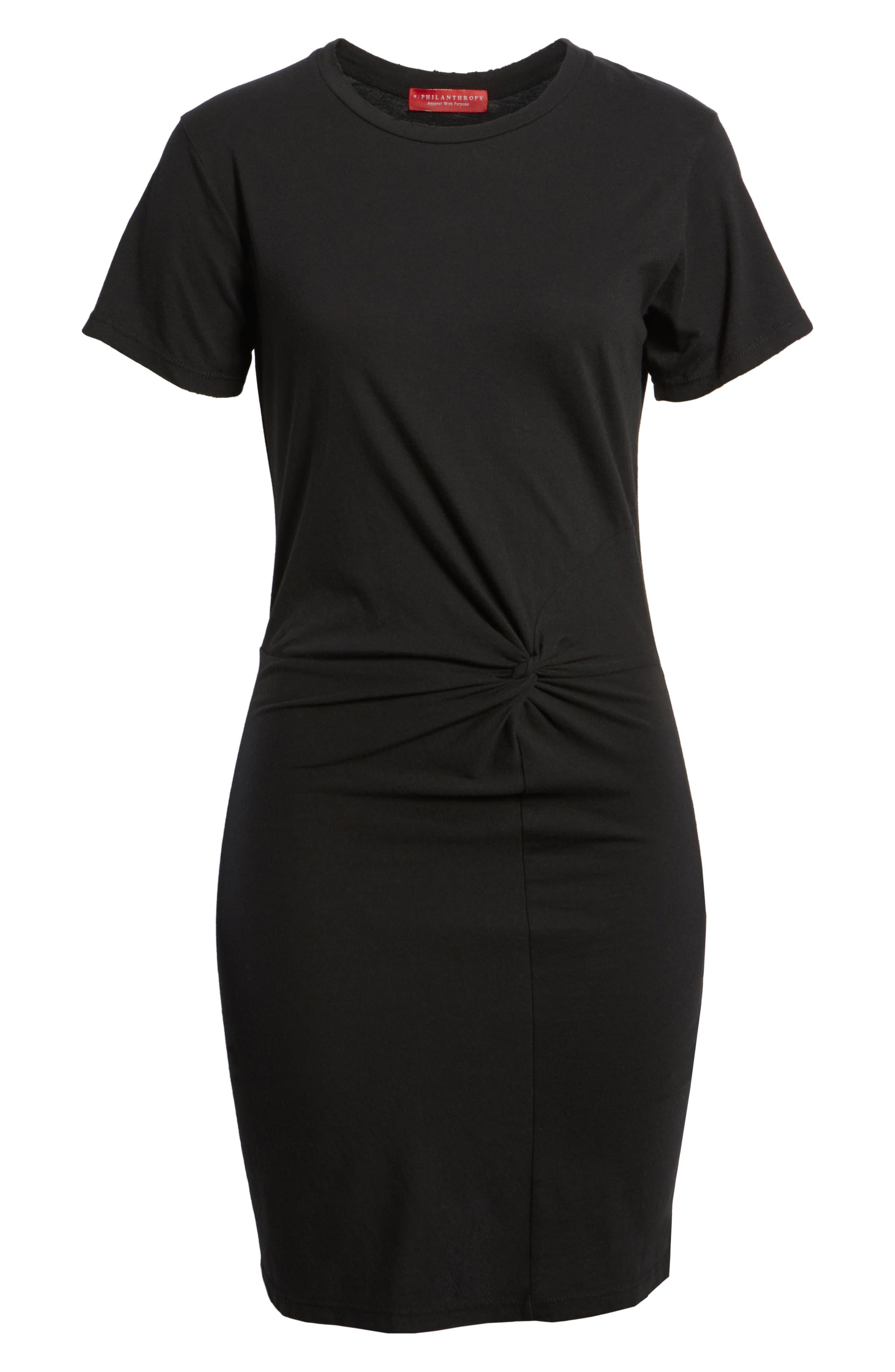 Jazz Knotted T-Shirt Dress,                             Alternate thumbnail 6, color,                             BLACK CAT