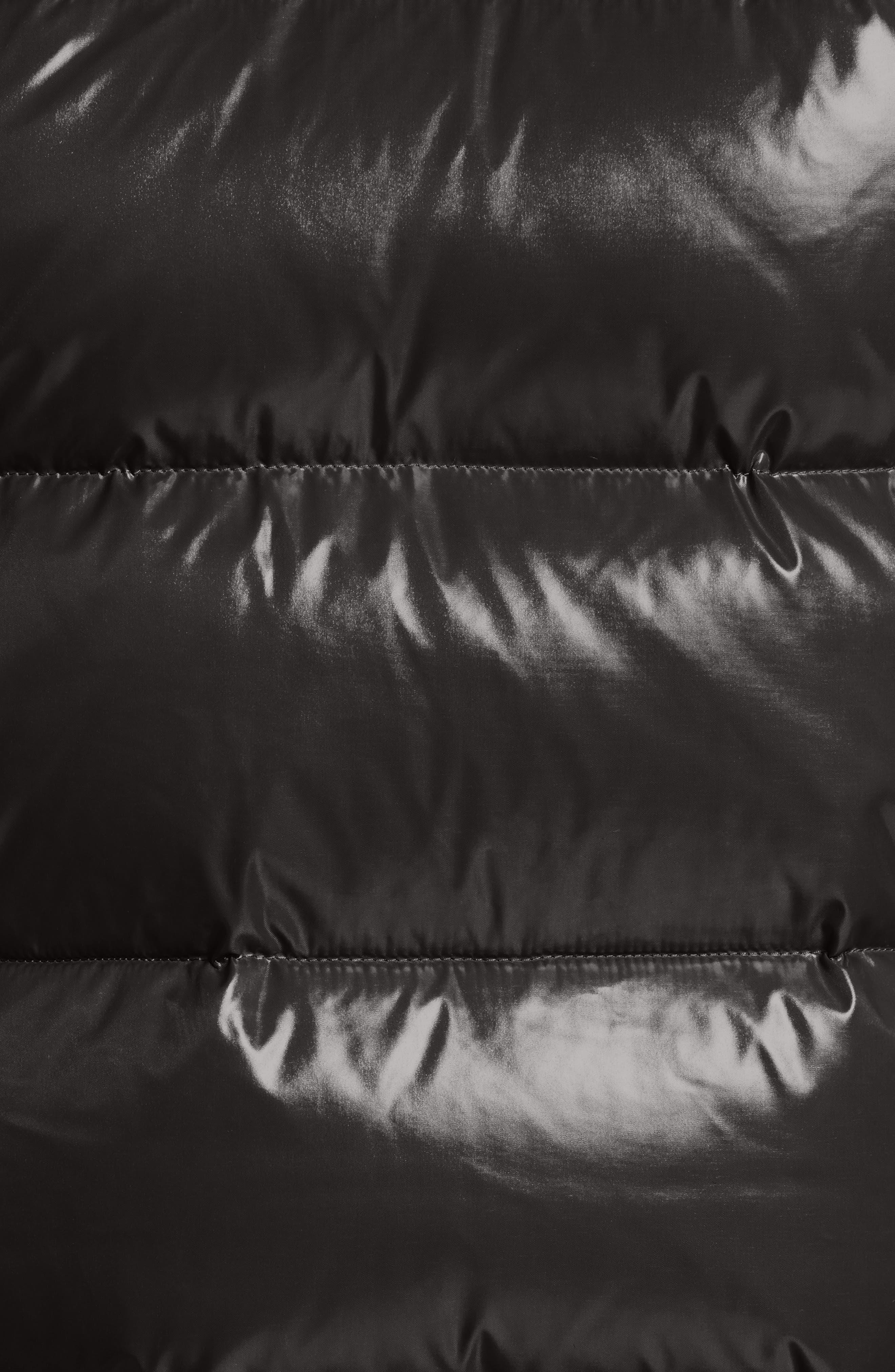 Lacet Lacquered Hooded Down Vest,                             Alternate thumbnail 5, color,                             BLACK