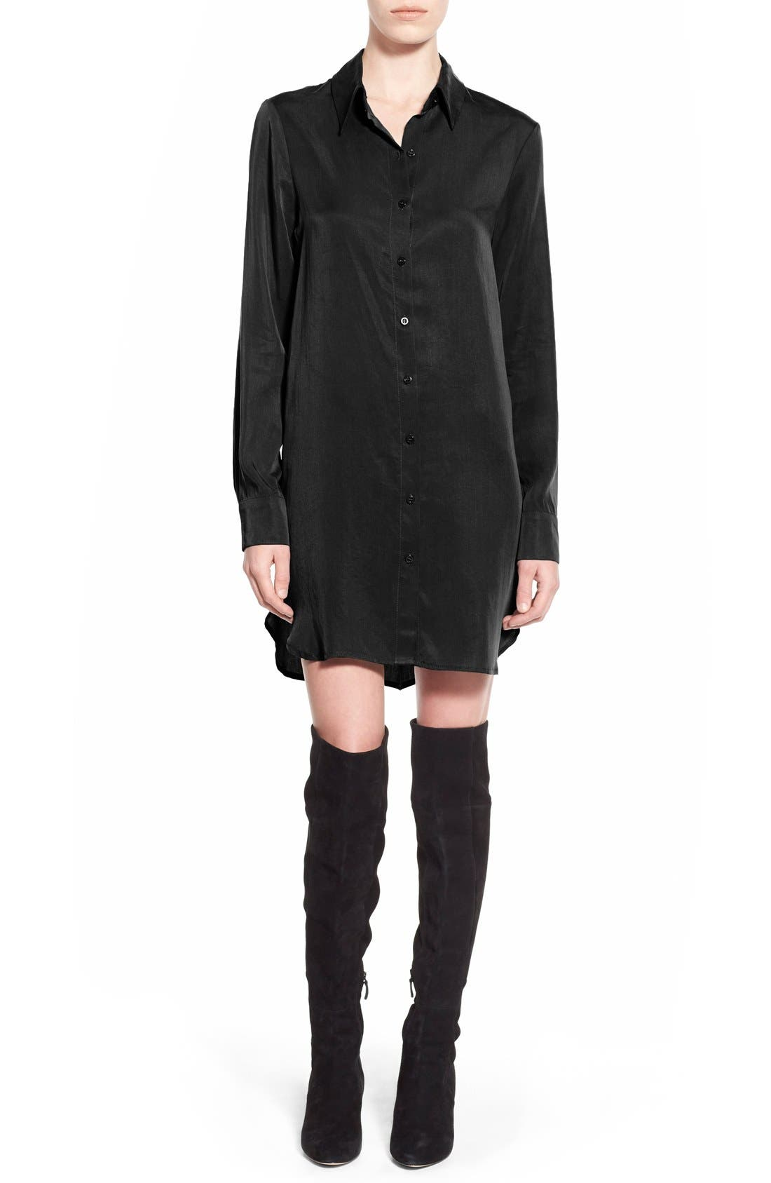 Button Front Shirtdress,                         Main,                         color, 001