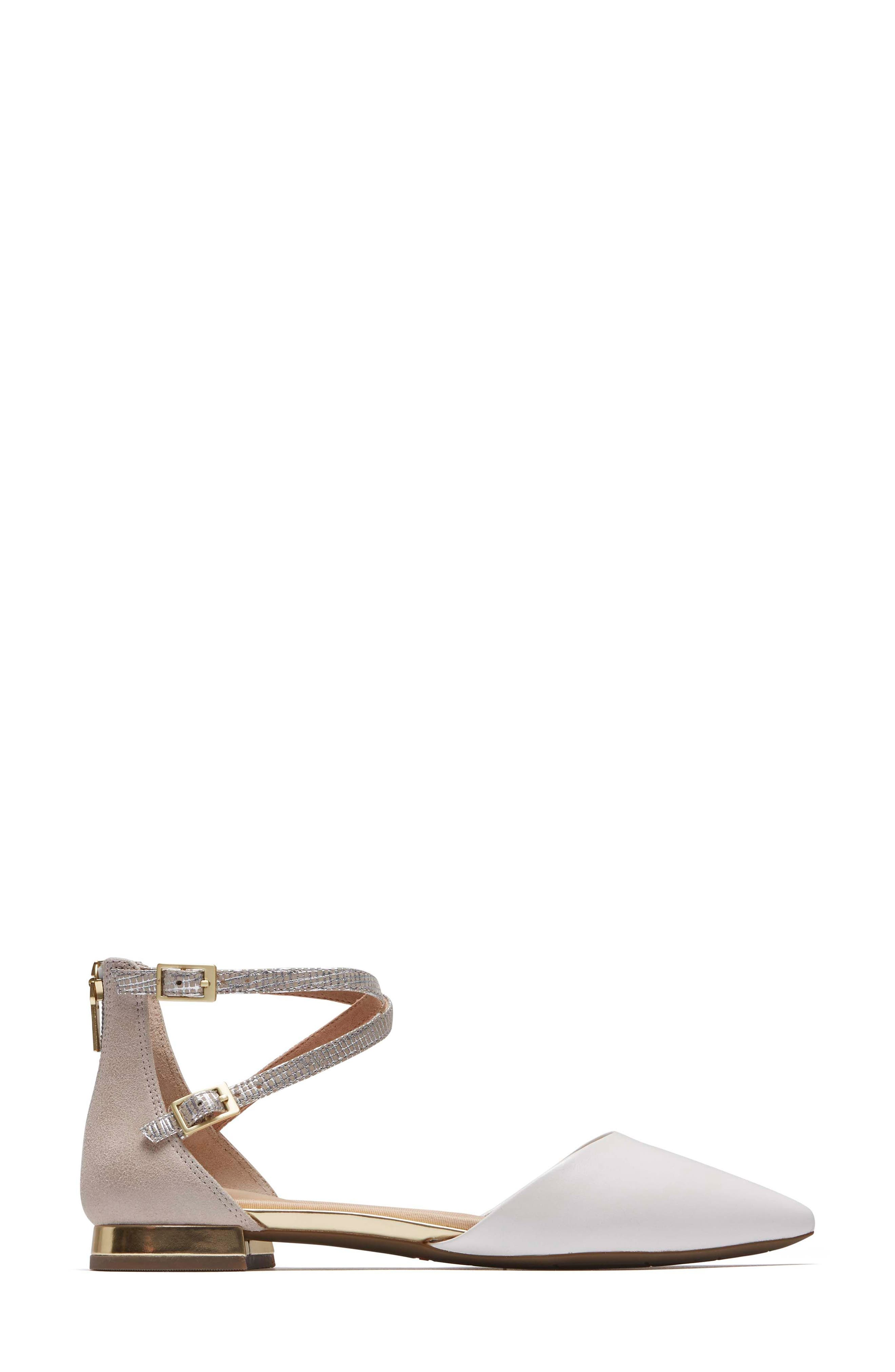 Total Motion<sup>®</sup> Zuly Luxe Ankle Strap Flat,                             Alternate thumbnail 3, color,                             WHITE LEATHER