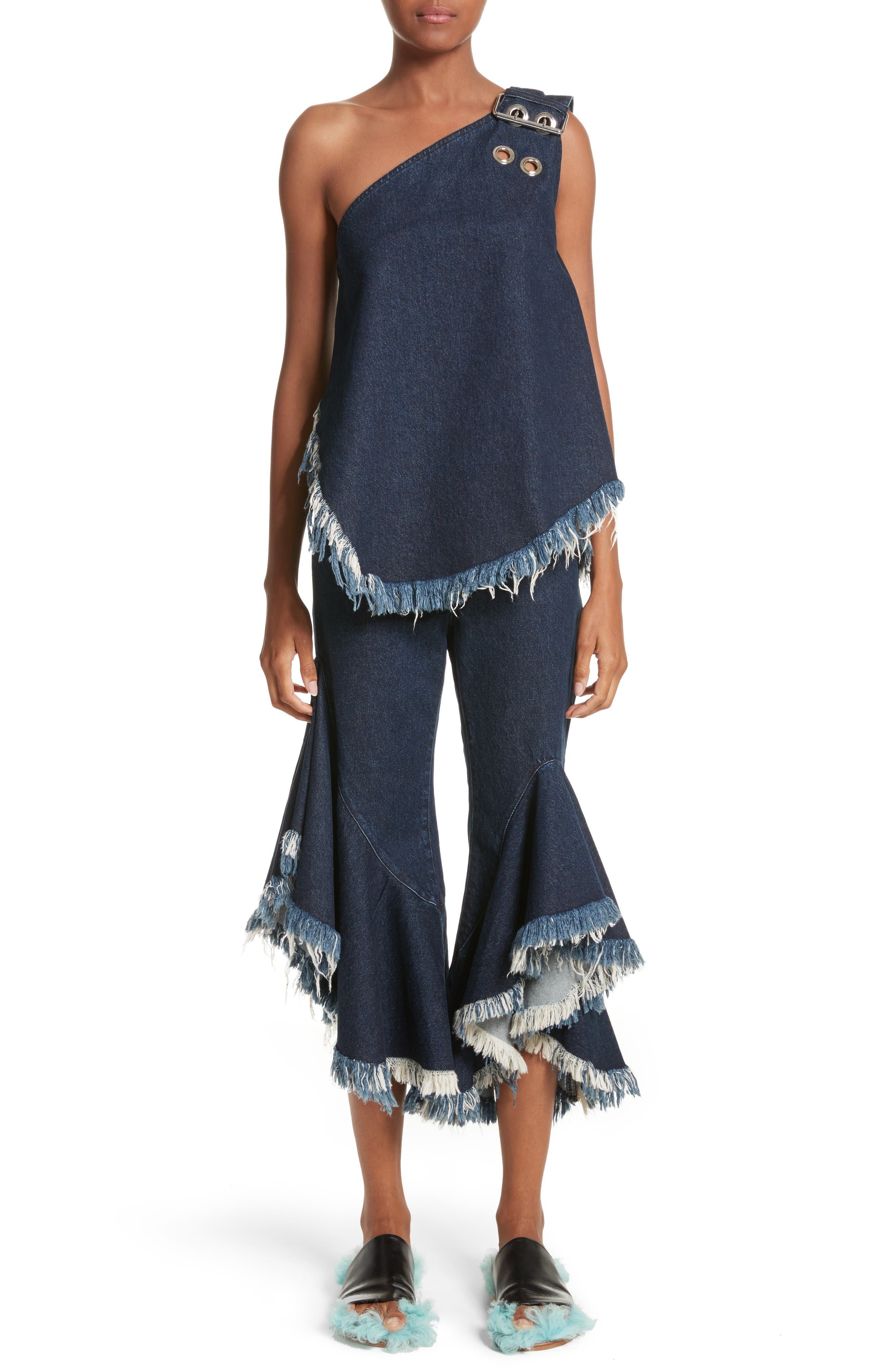 Marques'Almeida Frill Flare Crop Jeans,                             Alternate thumbnail 7, color,                             400