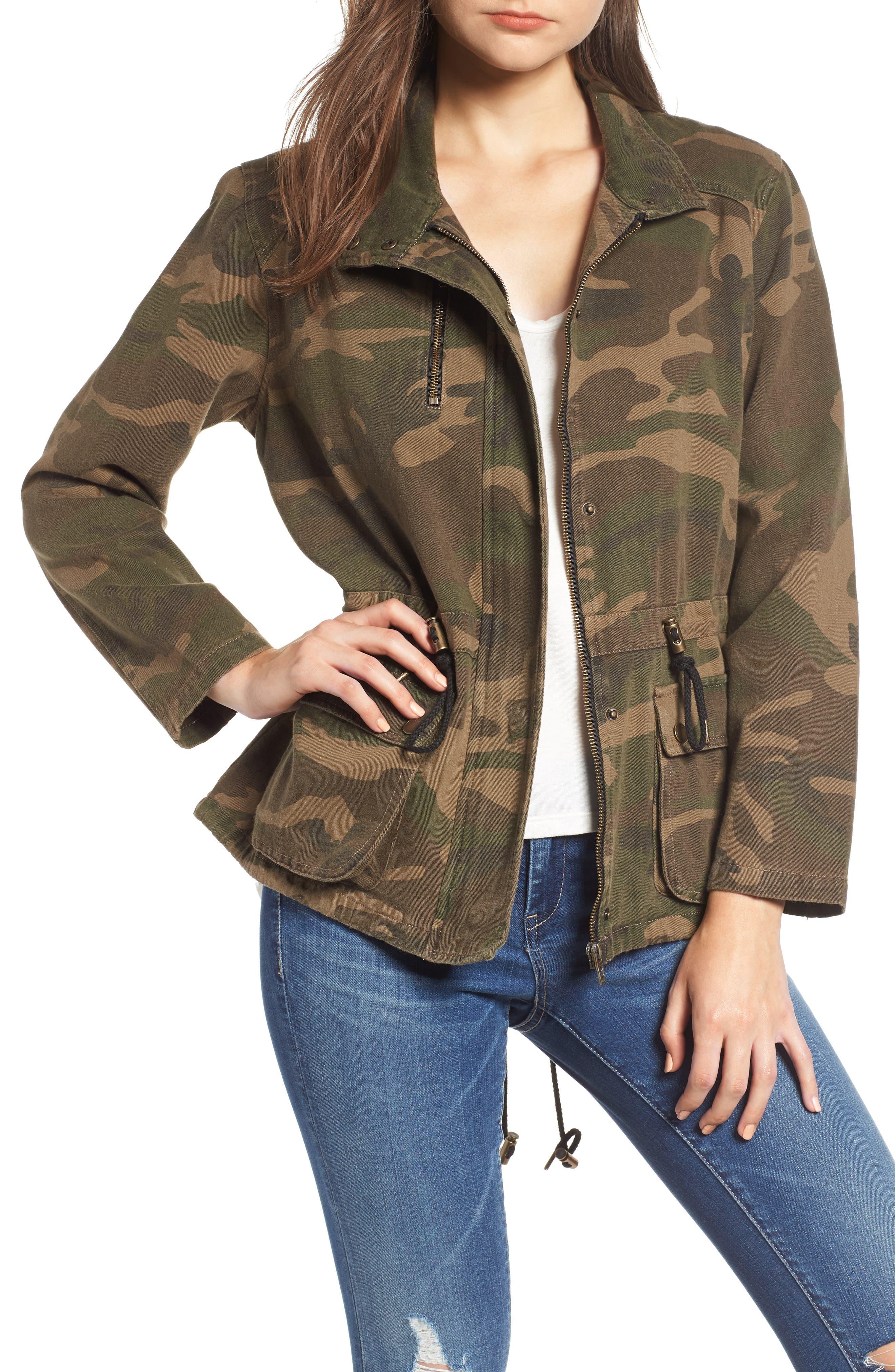 Camo Print Army Jacket,                             Main thumbnail 1, color,                             ARMY GREEN