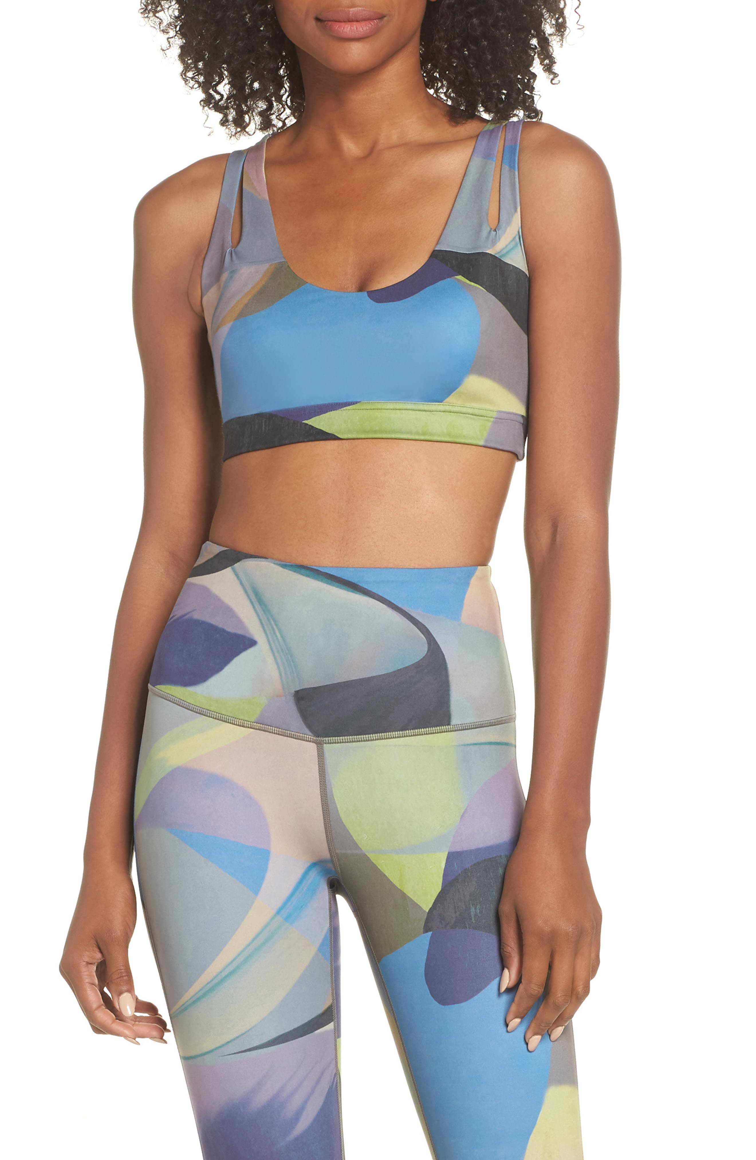Lita Recycled Dual Strap Sports Bralette,                         Main,                         color, GREY URBAN ABSTRACT BOTANICAL