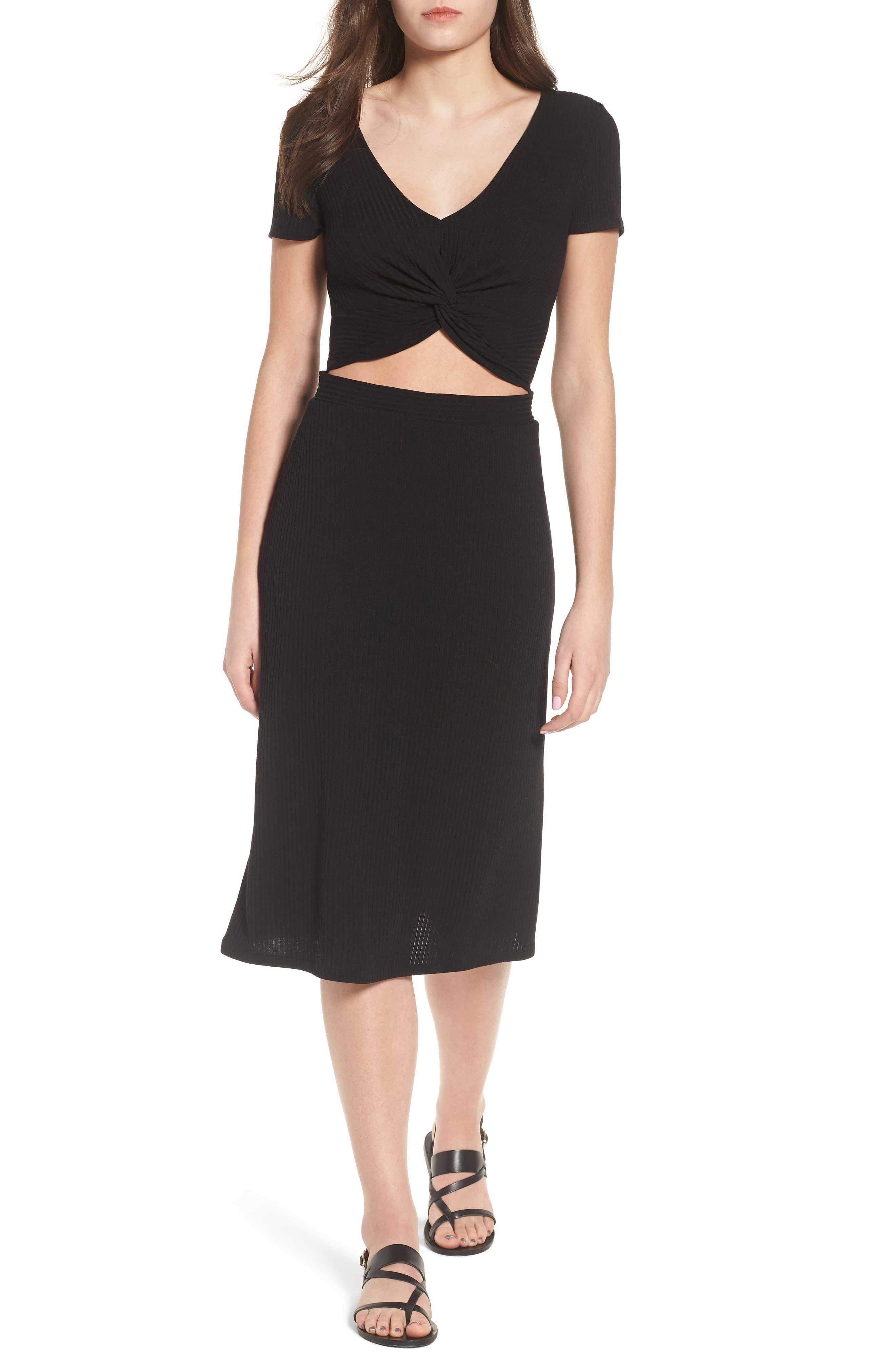 Twist Front Midi Dress,                         Main,                         color, 001