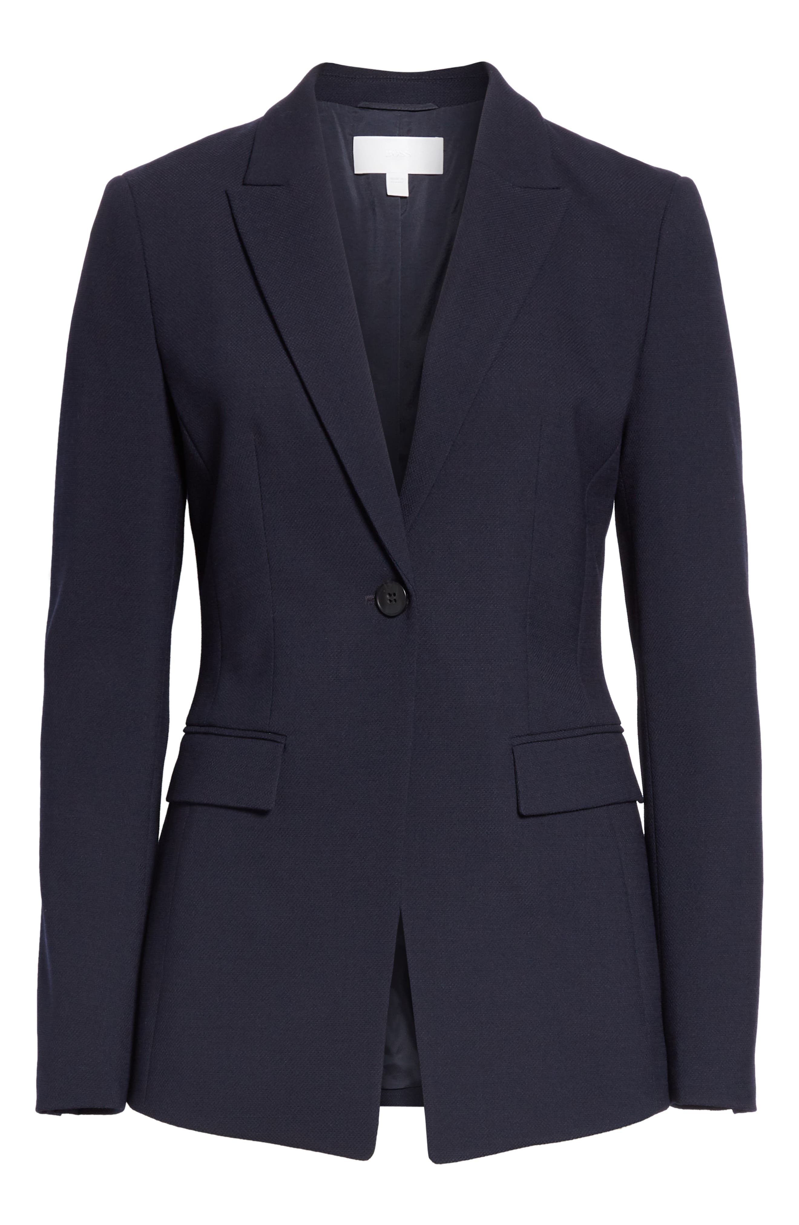 Jusanna Stretch Wool Suit Jacket,                             Alternate thumbnail 5, color,                             NAVY