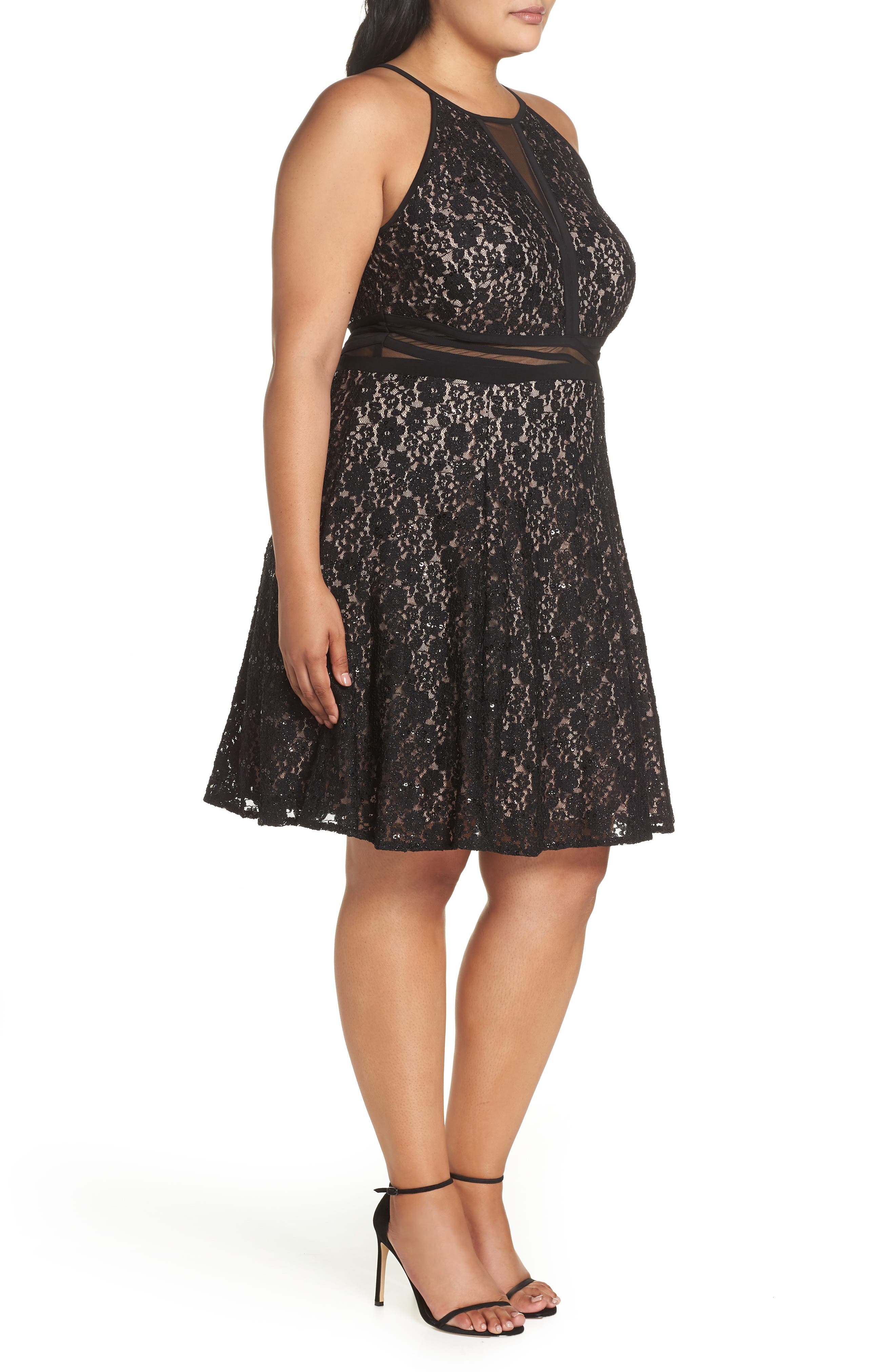 Sheer Inset Lace Fit & Flare Dress,                             Alternate thumbnail 3, color,                             BLACK/ NUDE