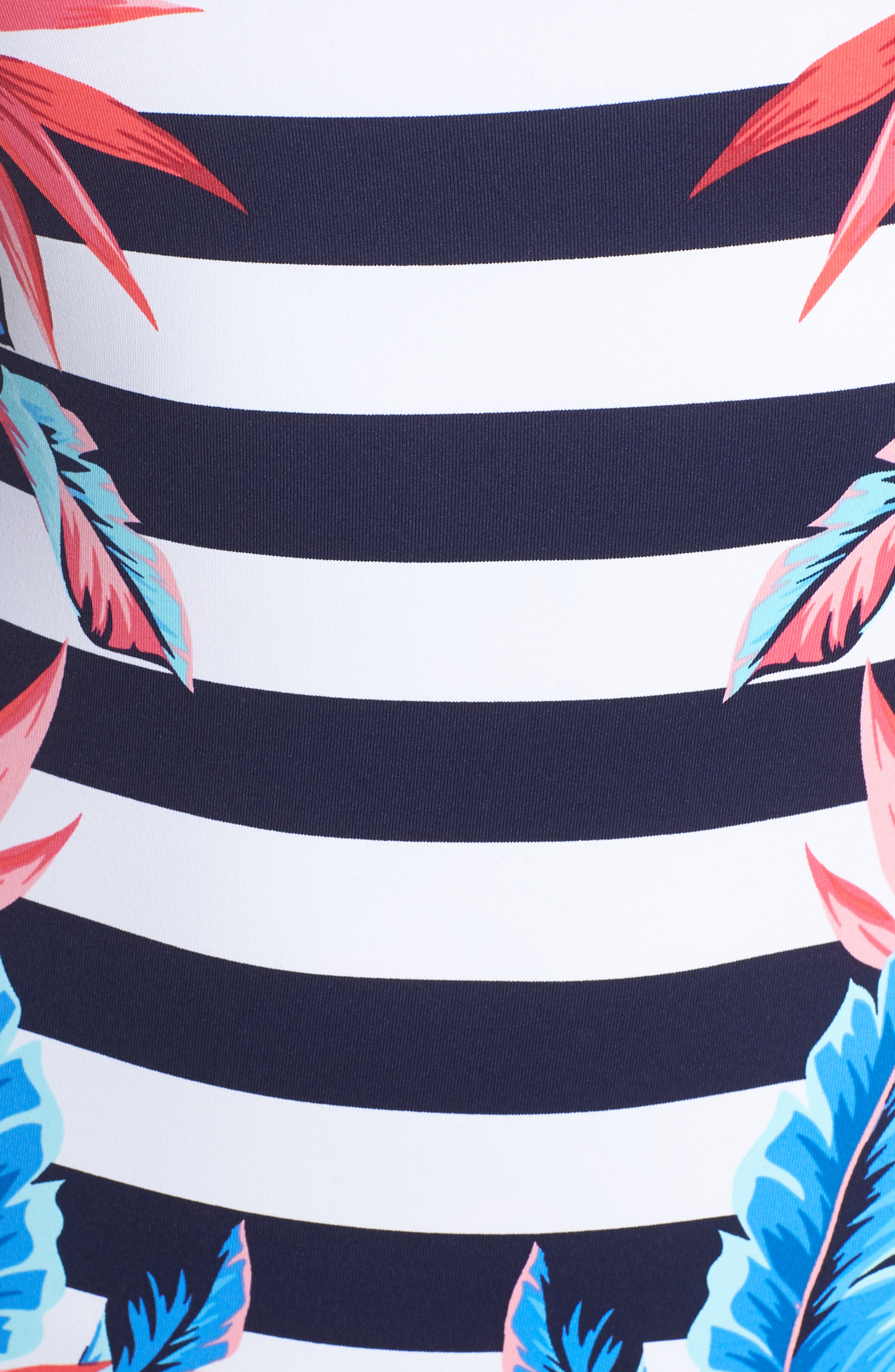 Palms of Paradise Reversible One-Piece Swimsuit,                             Alternate thumbnail 6, color,                             MARE BLUE