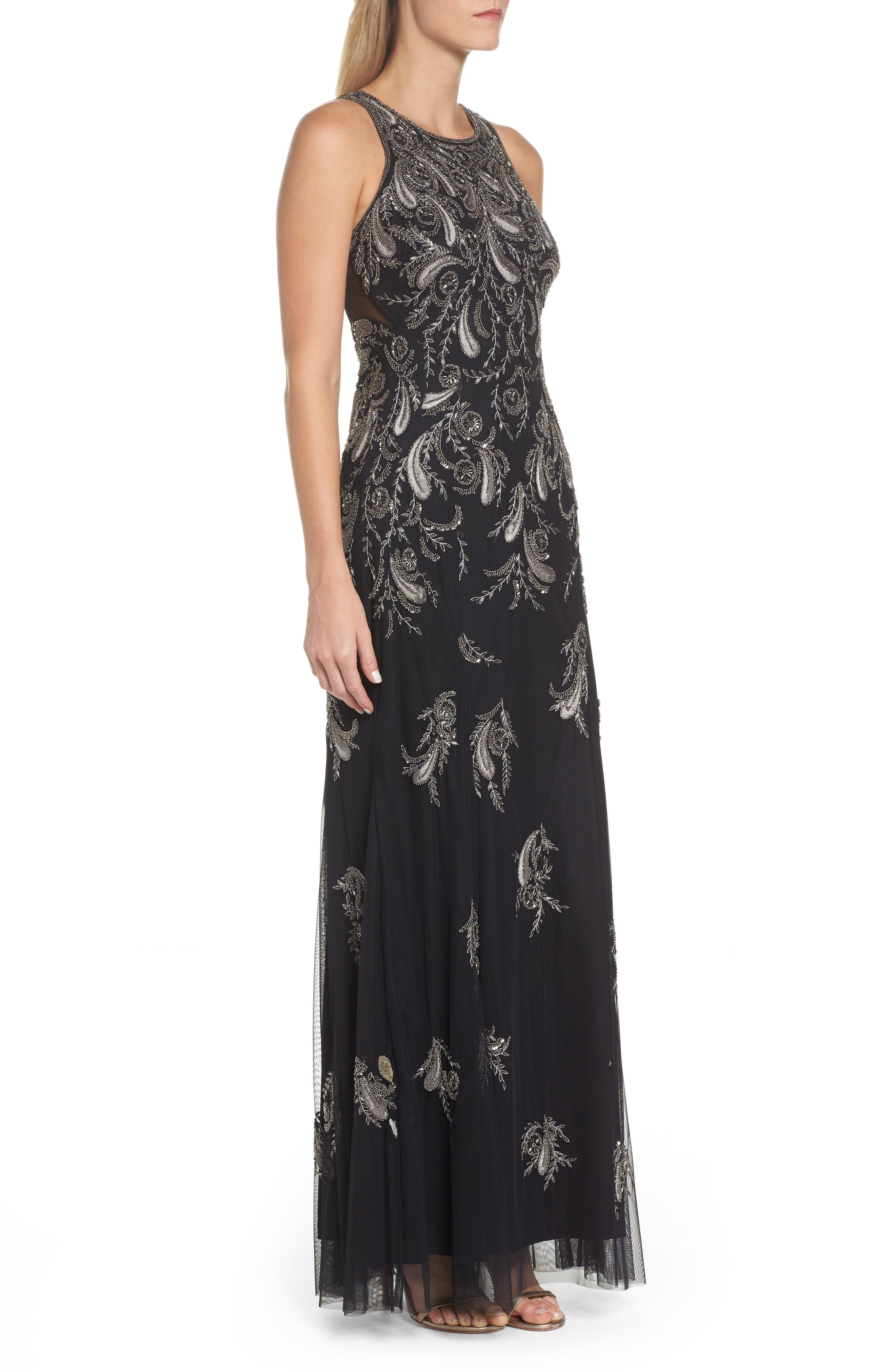 Embellished Sheer Back Maxi Dress,                             Alternate thumbnail 3, color,