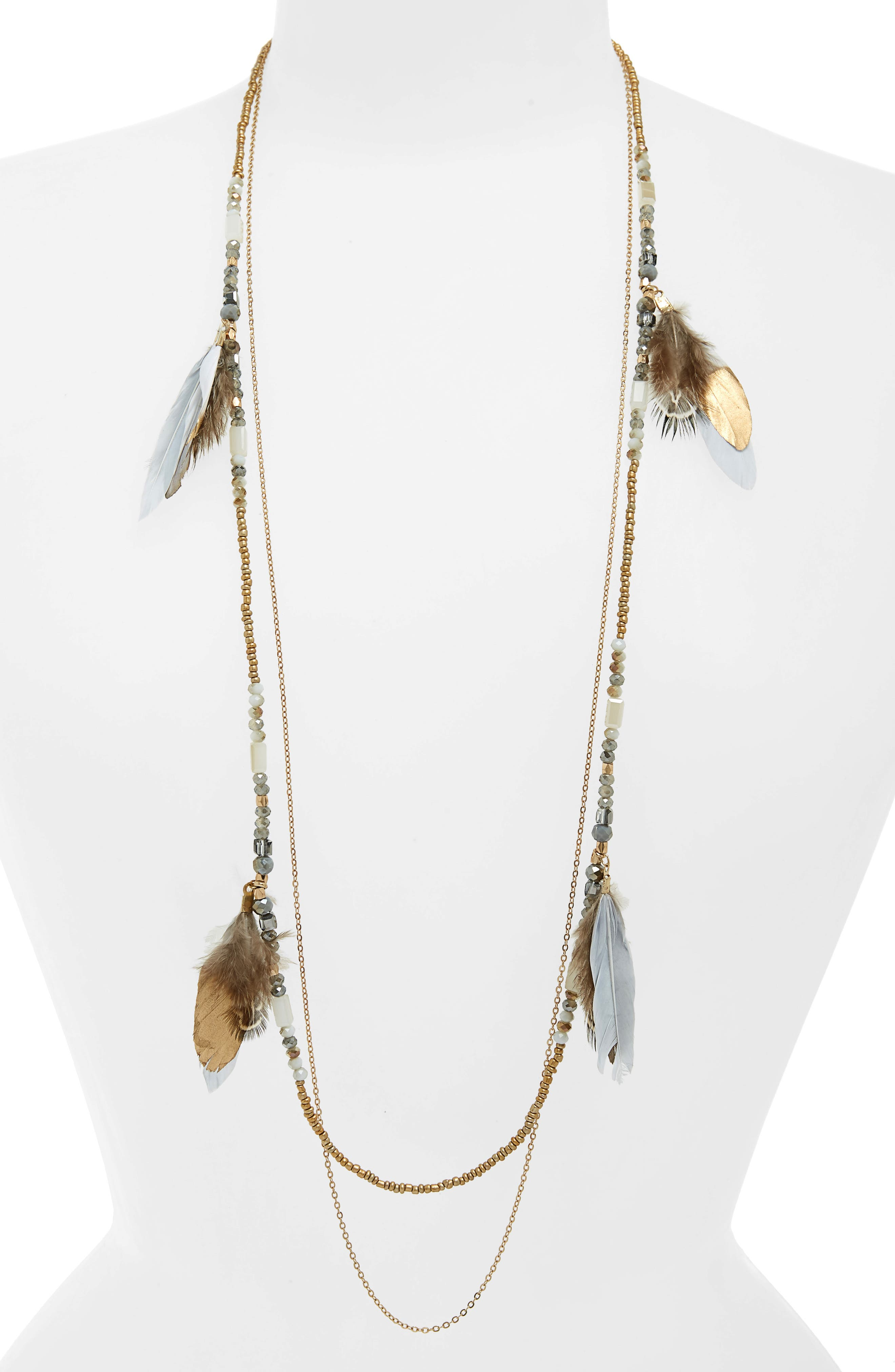 Double Layer Feather Necklace,                             Main thumbnail 1, color,                             GREY