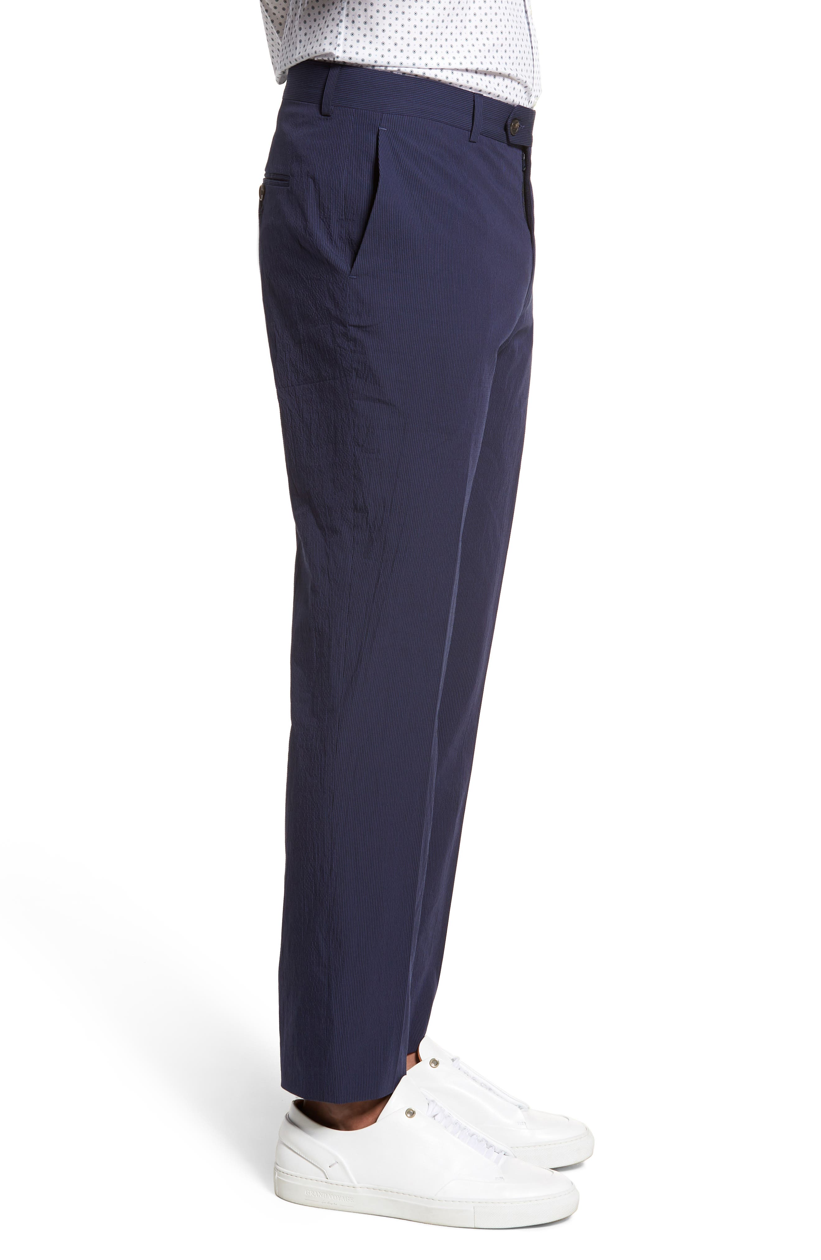 Dagger Flat Front Seersucker Trousers,                             Alternate thumbnail 3, color,                             400
