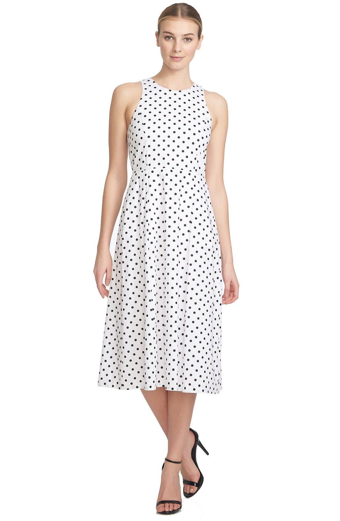 1.STATE,                             Polka Dot Cutout Fit & Flare Midi Dress,                             Alternate thumbnail 3, color,                             909