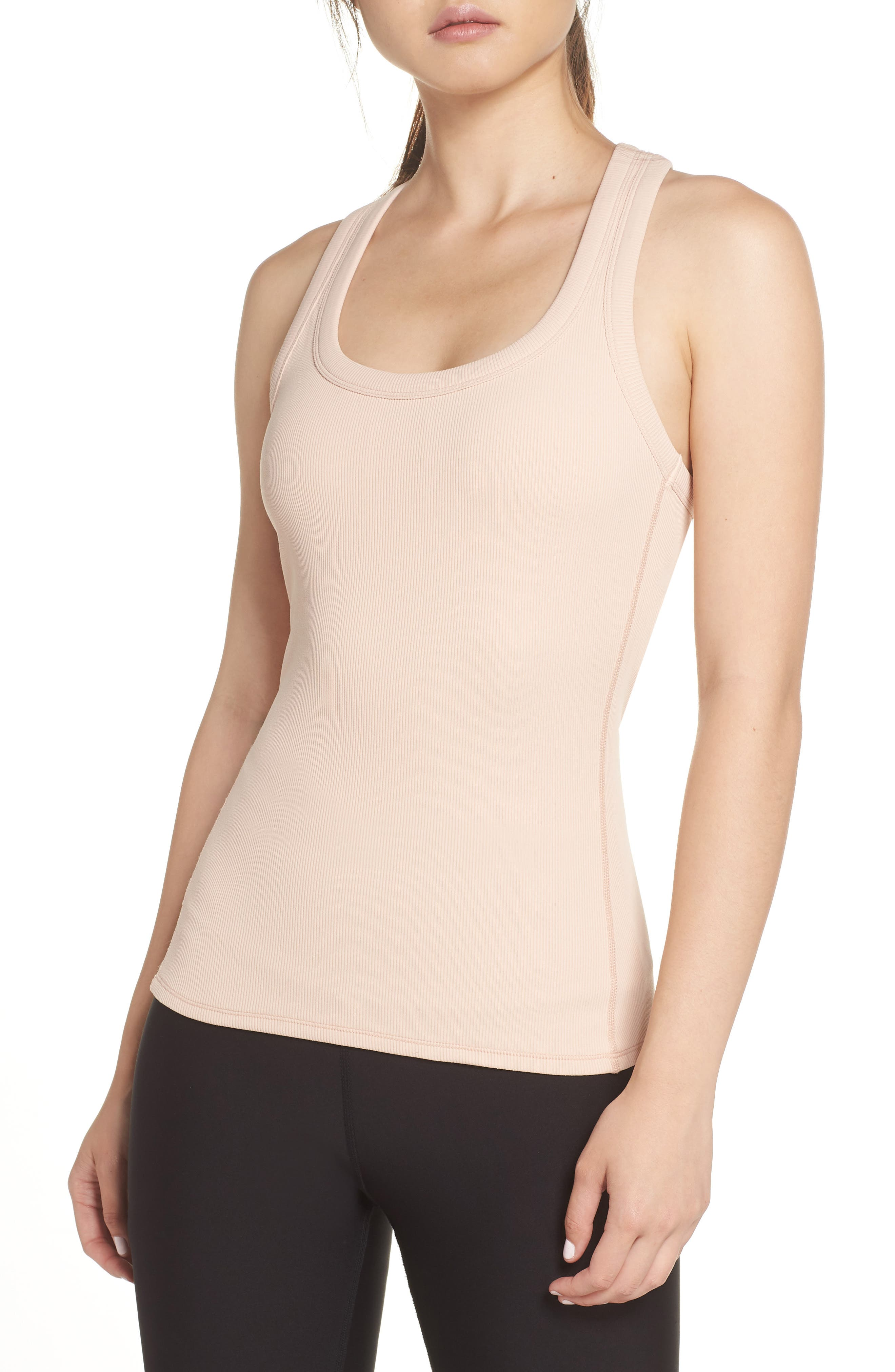 Support Ribbed Racerback Tank,                         Main,                         color, NECTAR