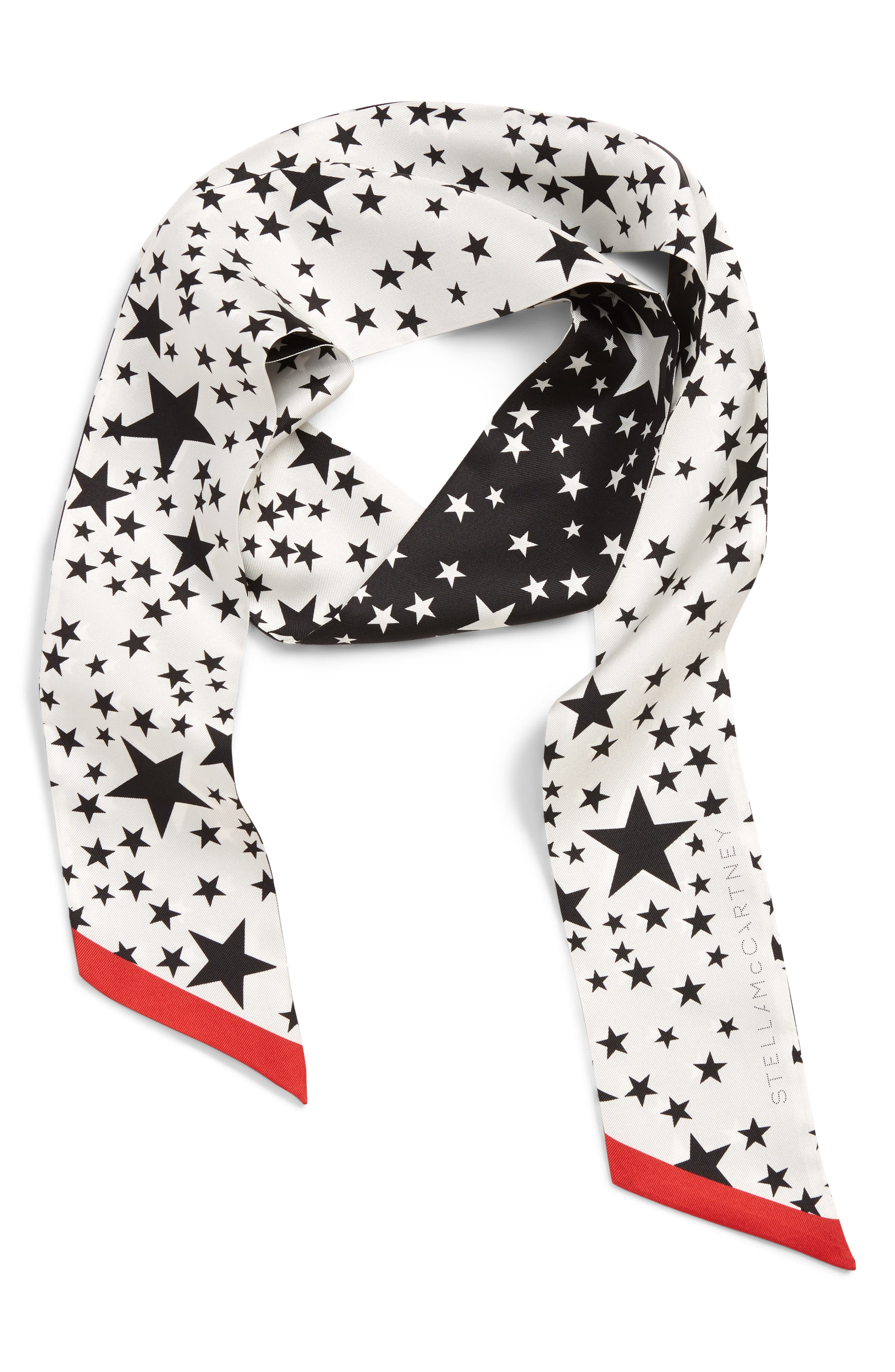 Star Print Double Skinny Silk Scarf,                             Alternate thumbnail 2, color,                             100