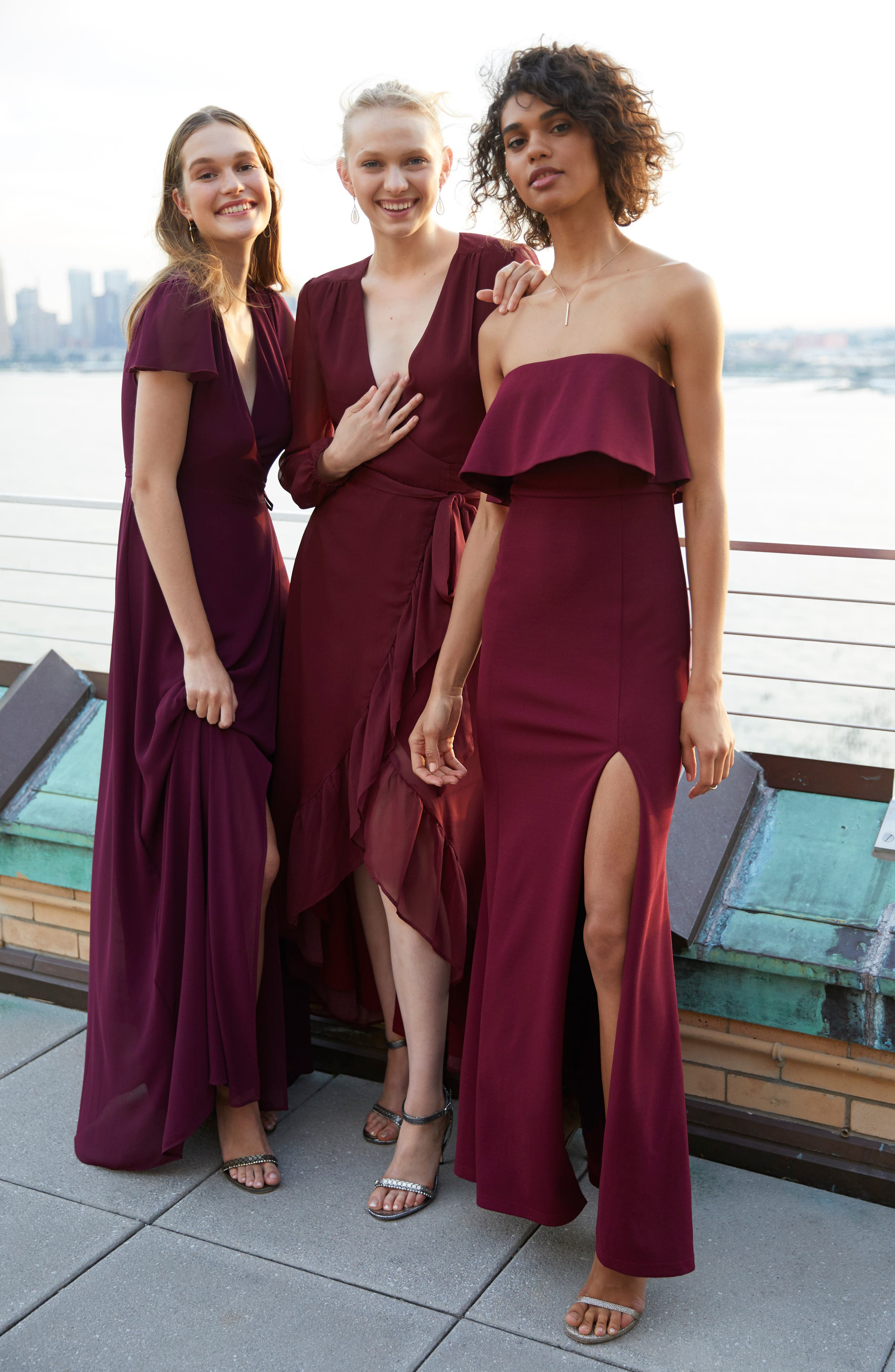 Meryl Long Sleeve Wrap Maxi Dress,                             Alternate thumbnail 8, color,                             CABERNET