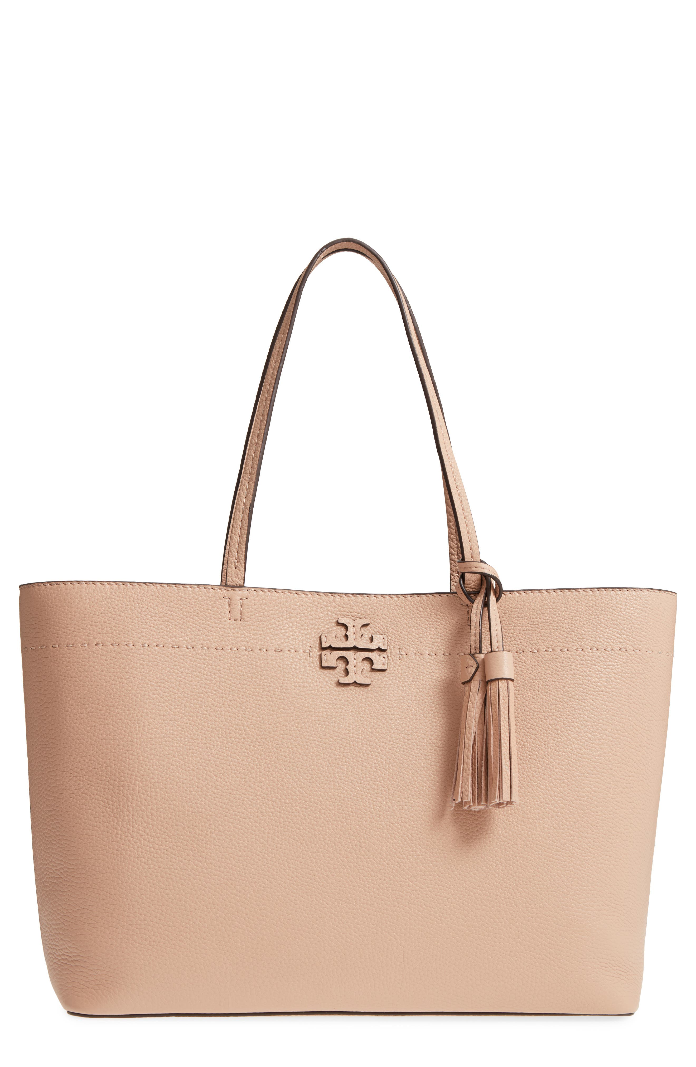 Mcgraw Leather Laptop Tote - Pink in Devon Sand