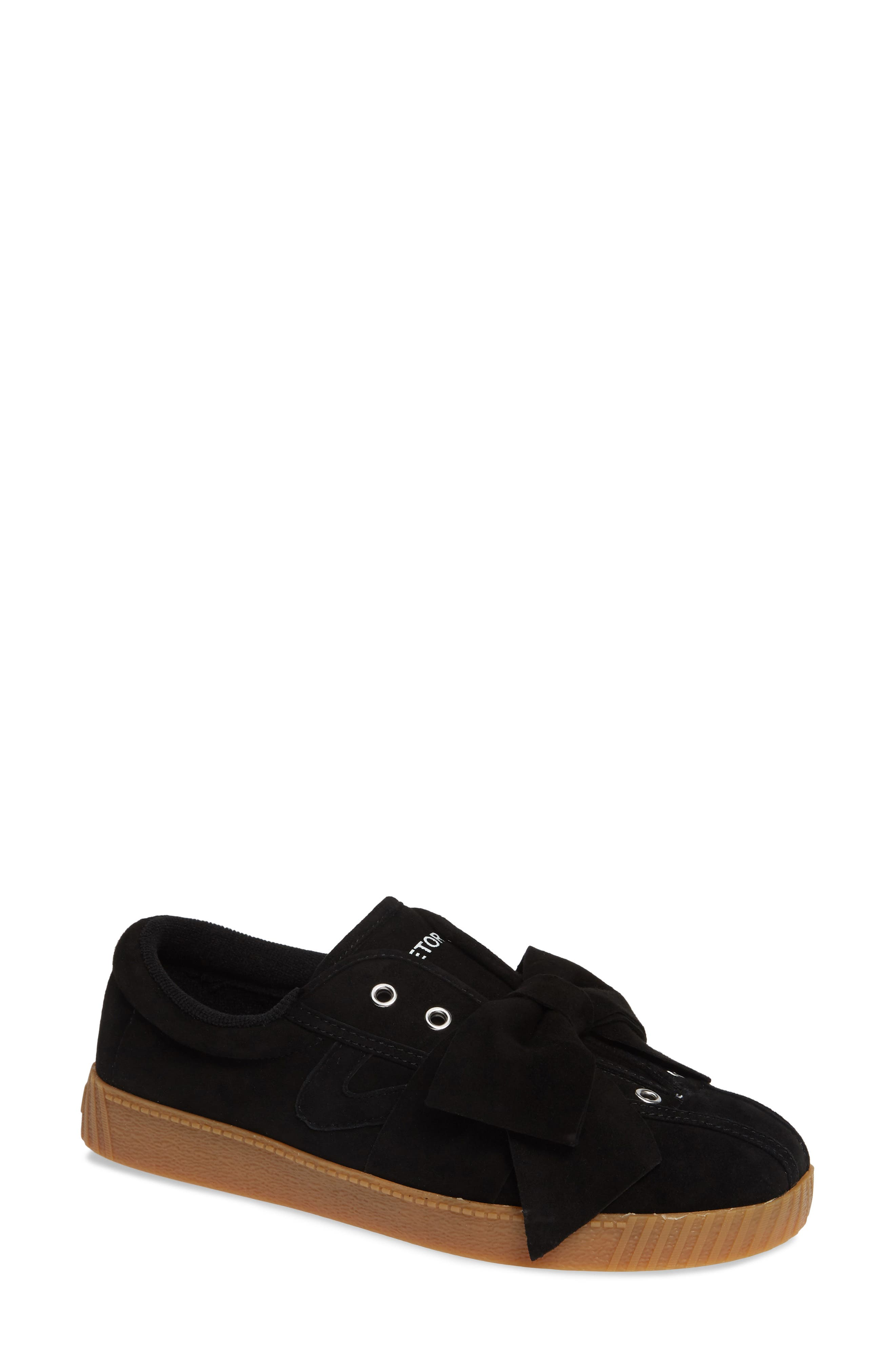TRETORN Nylite Silky Suede Lace-Up Sneakers W/ Bow in Black