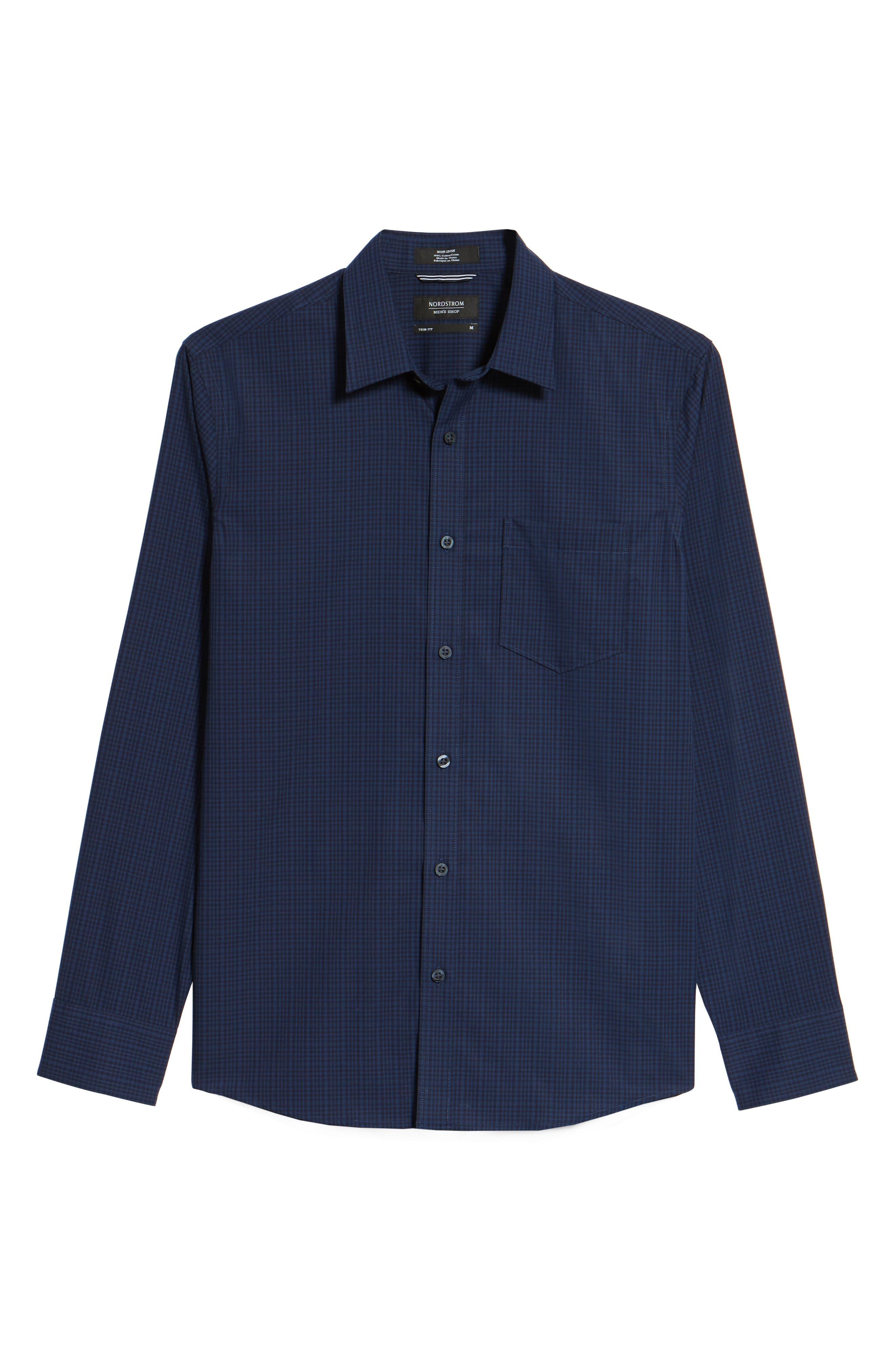 Trim Fit Non-Iron Mini Check Sport Shirt,                             Alternate thumbnail 6, color,                             410