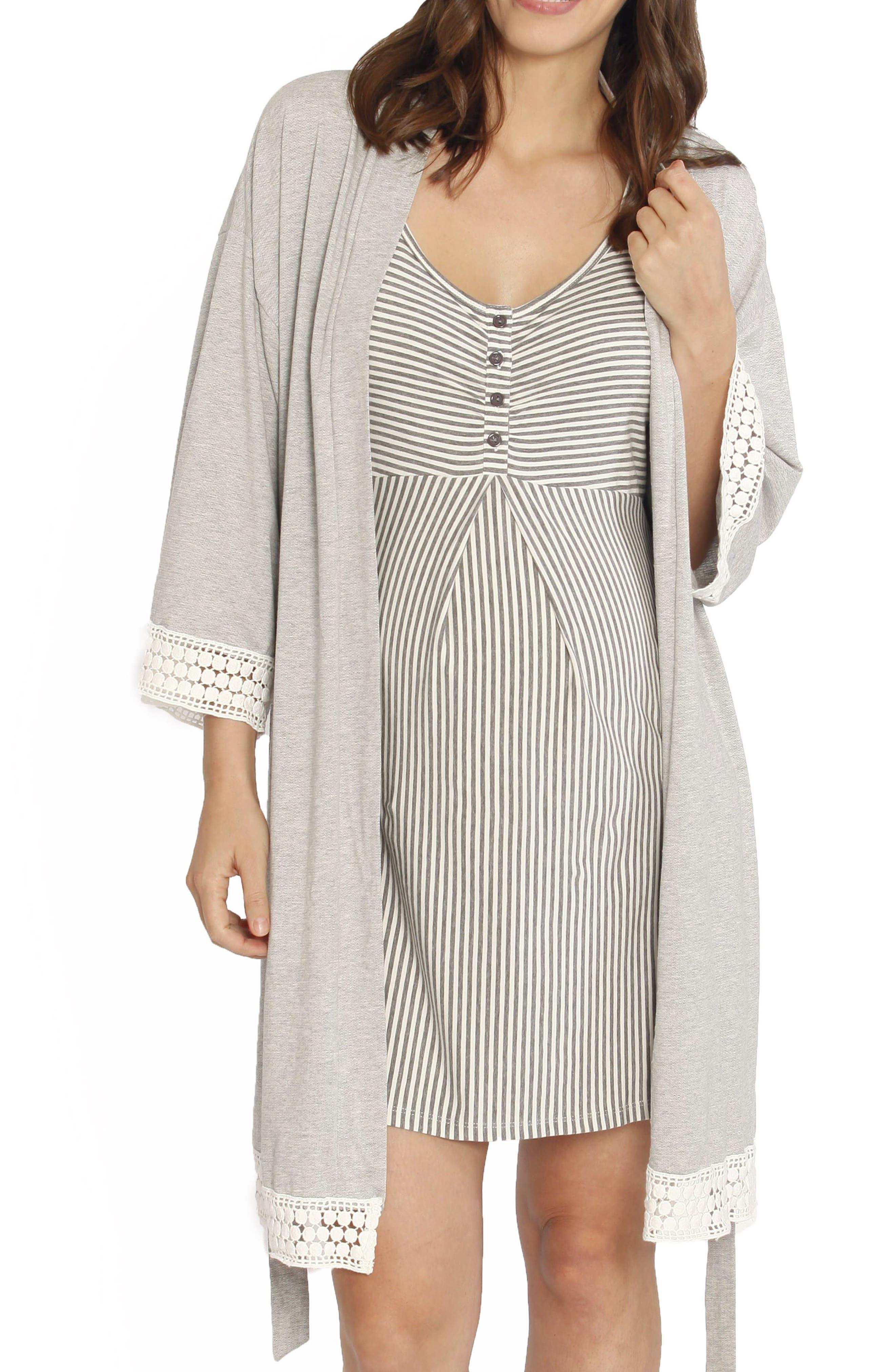 Nursing/Maternity Dress, Robe & Baby Wrap Set,                             Main thumbnail 1, color,                             GREY/ WHITE