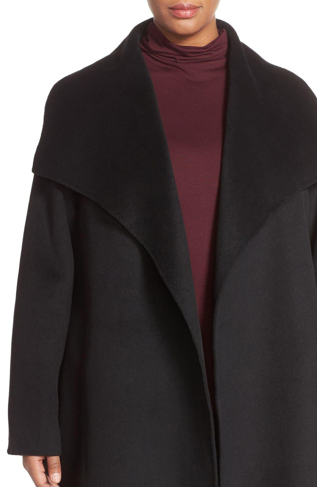 'Ella' Wrap Coat,                             Alternate thumbnail 4, color,                             001