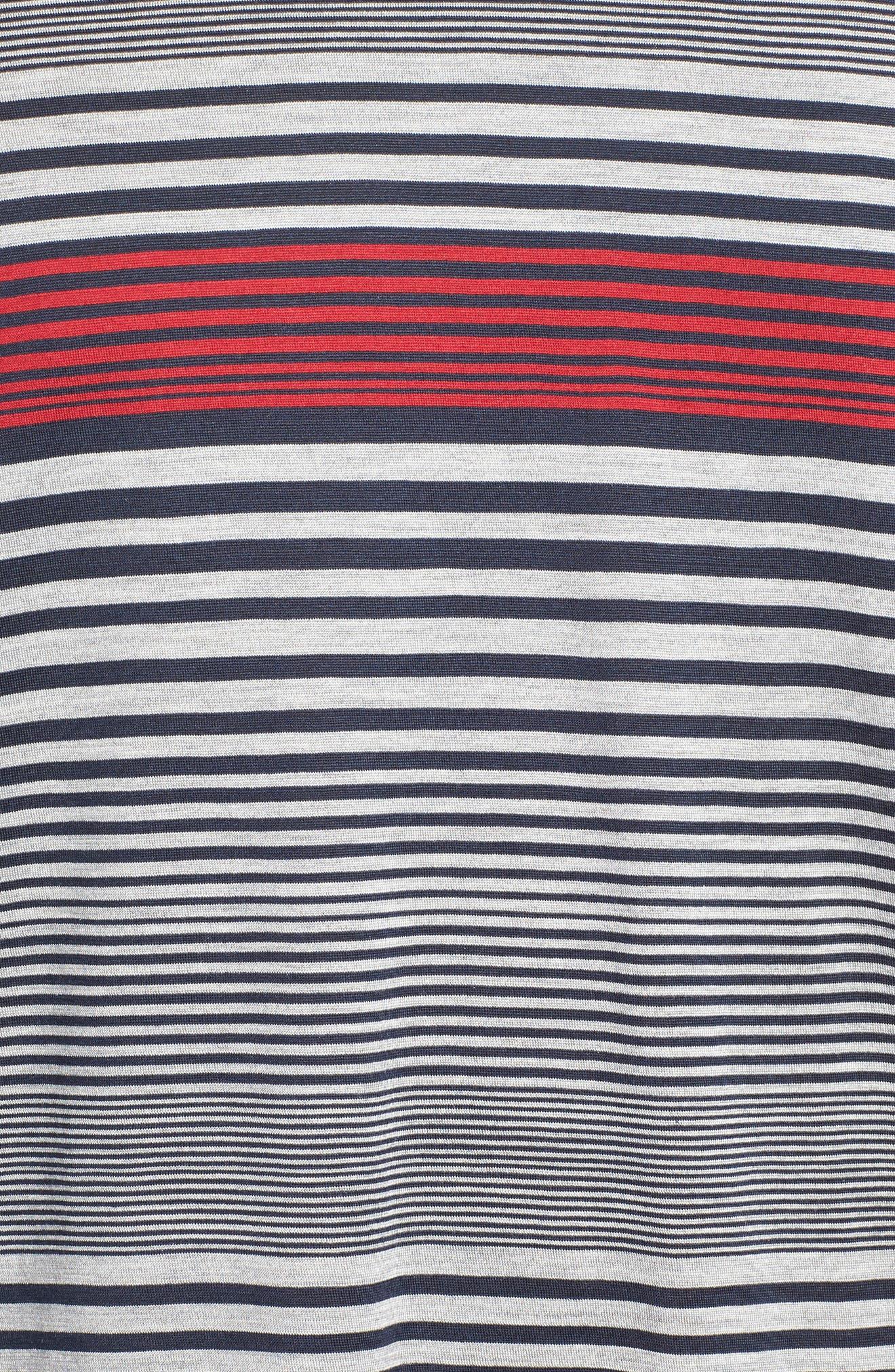 Stripe Silk & Cotton T-Shirt,                             Alternate thumbnail 5, color,                             400