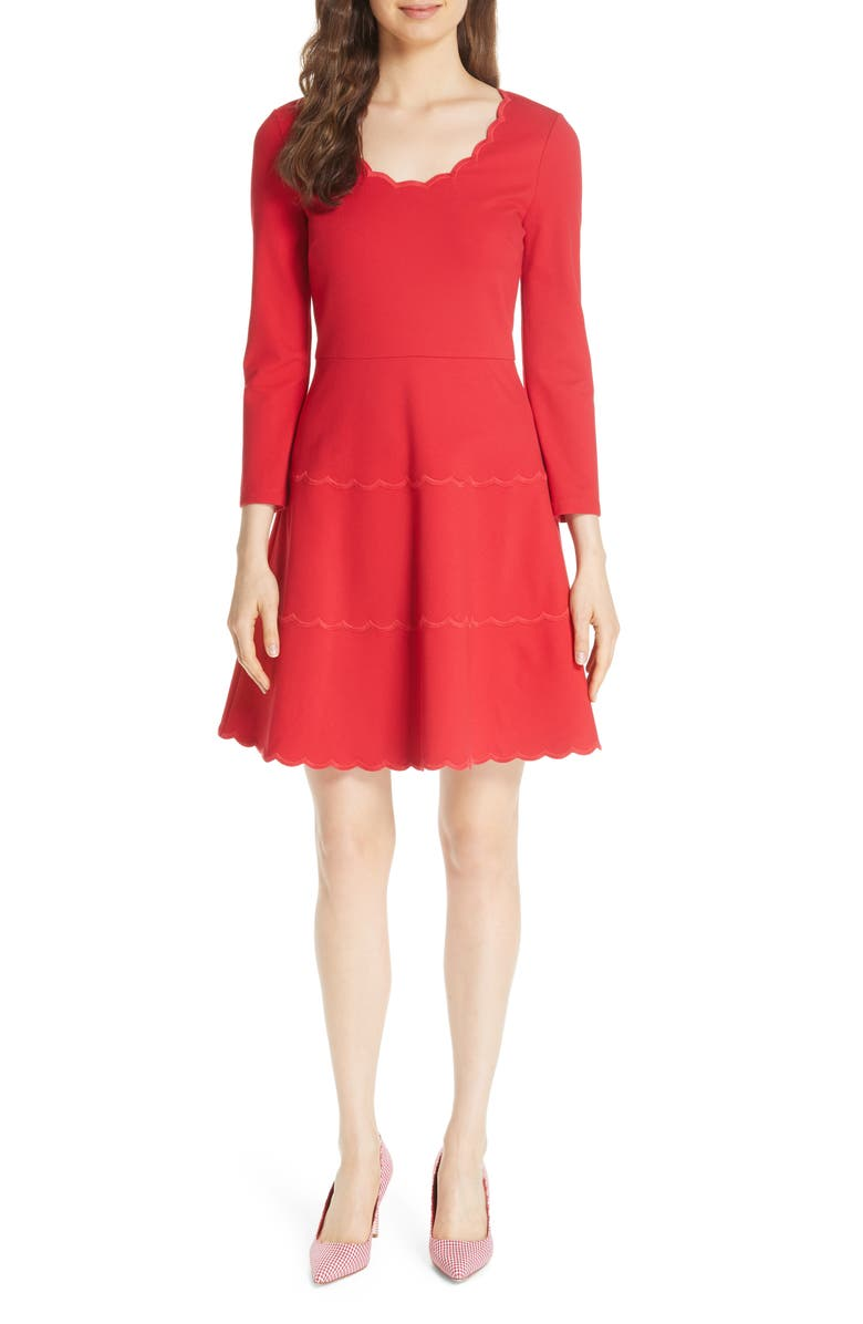Kate Spade Downs SCALLOP PONTE FIT & FLARE DRESS