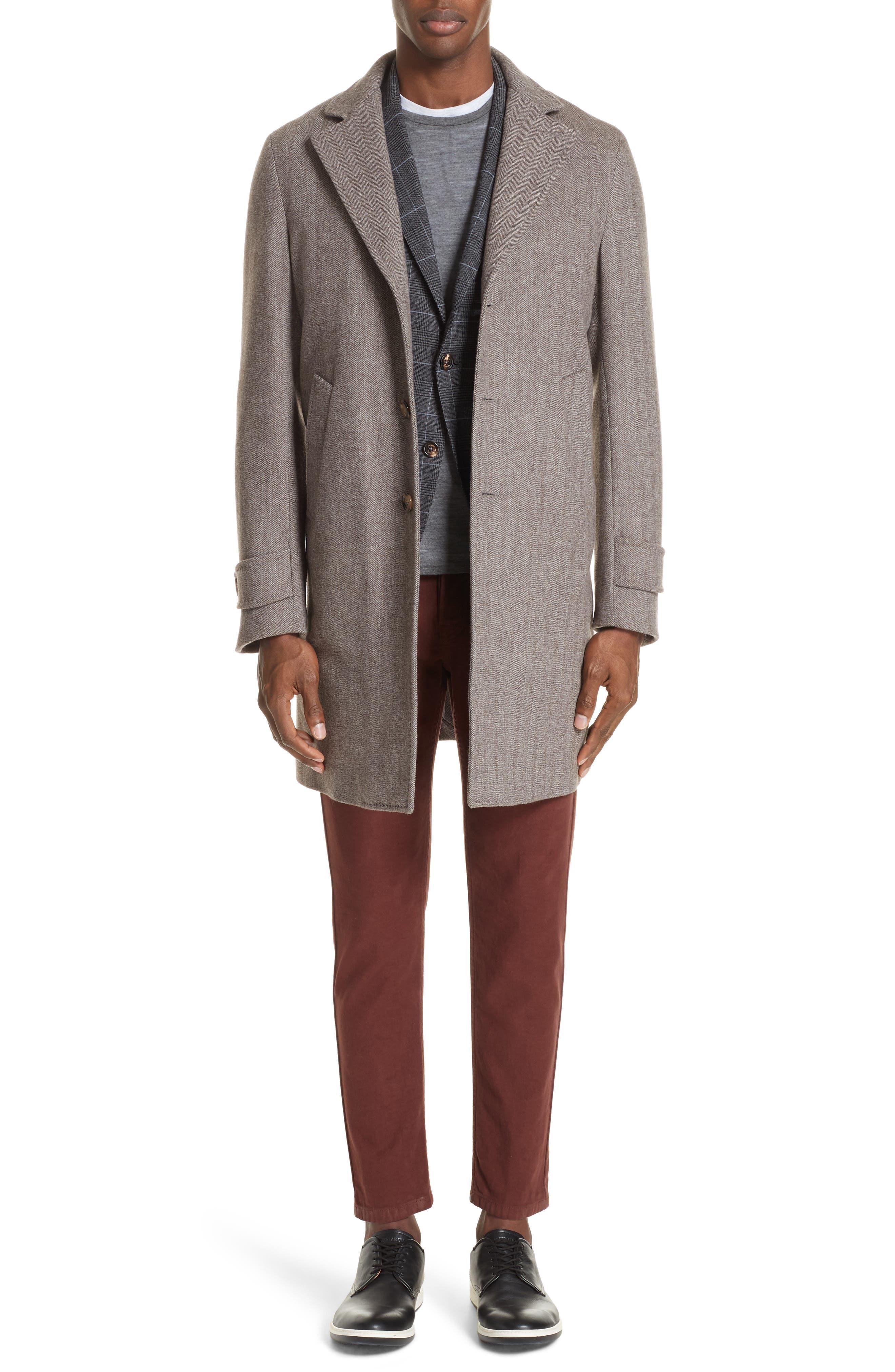 Trim Fit Stretch Plaid Wool Sport Coat,                             Alternate thumbnail 7, color,                             GREY