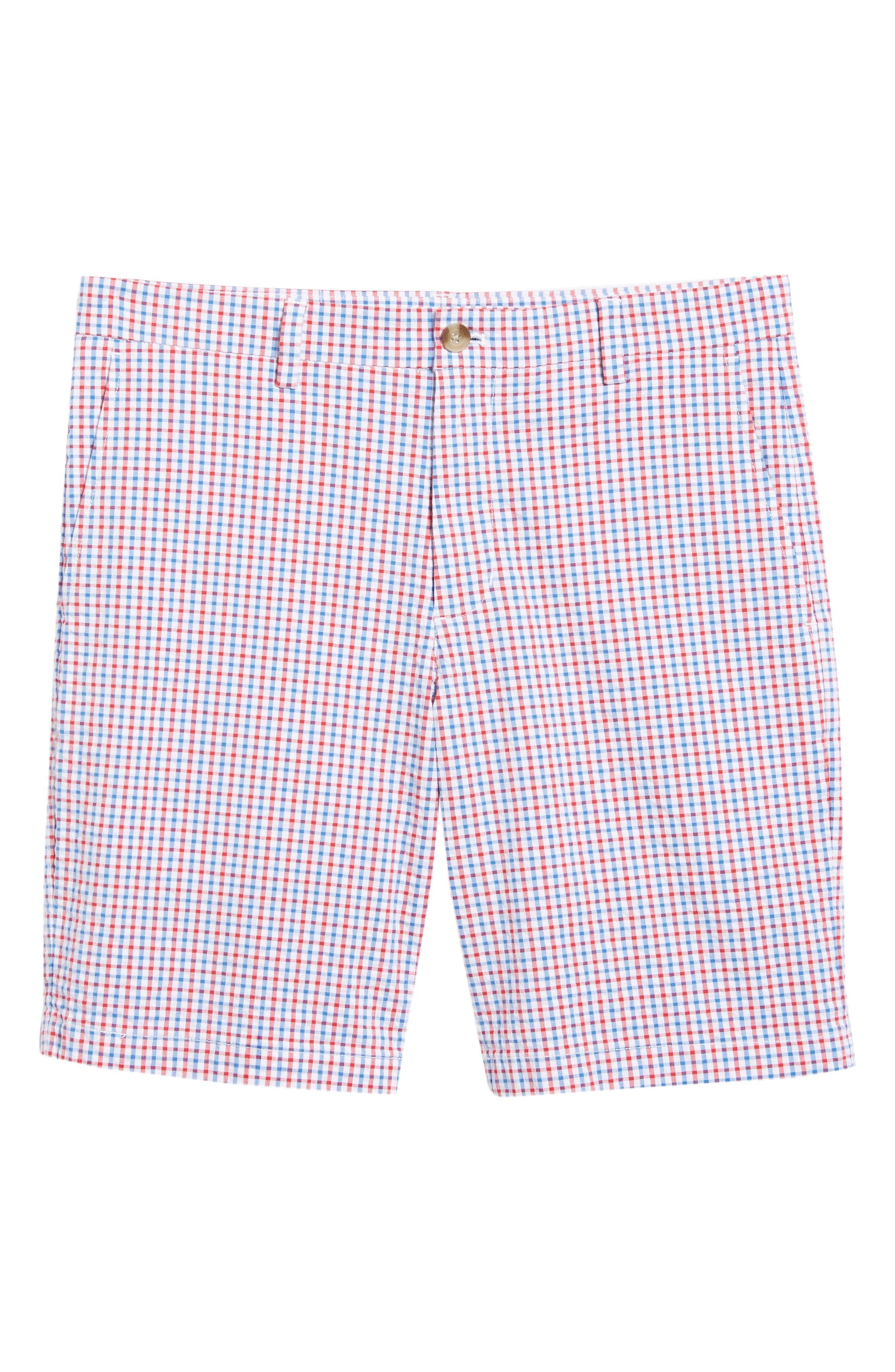 Gingham Seersucker Stretch Breaker Shorts,                             Alternate thumbnail 6, color,                             SPINNAKER