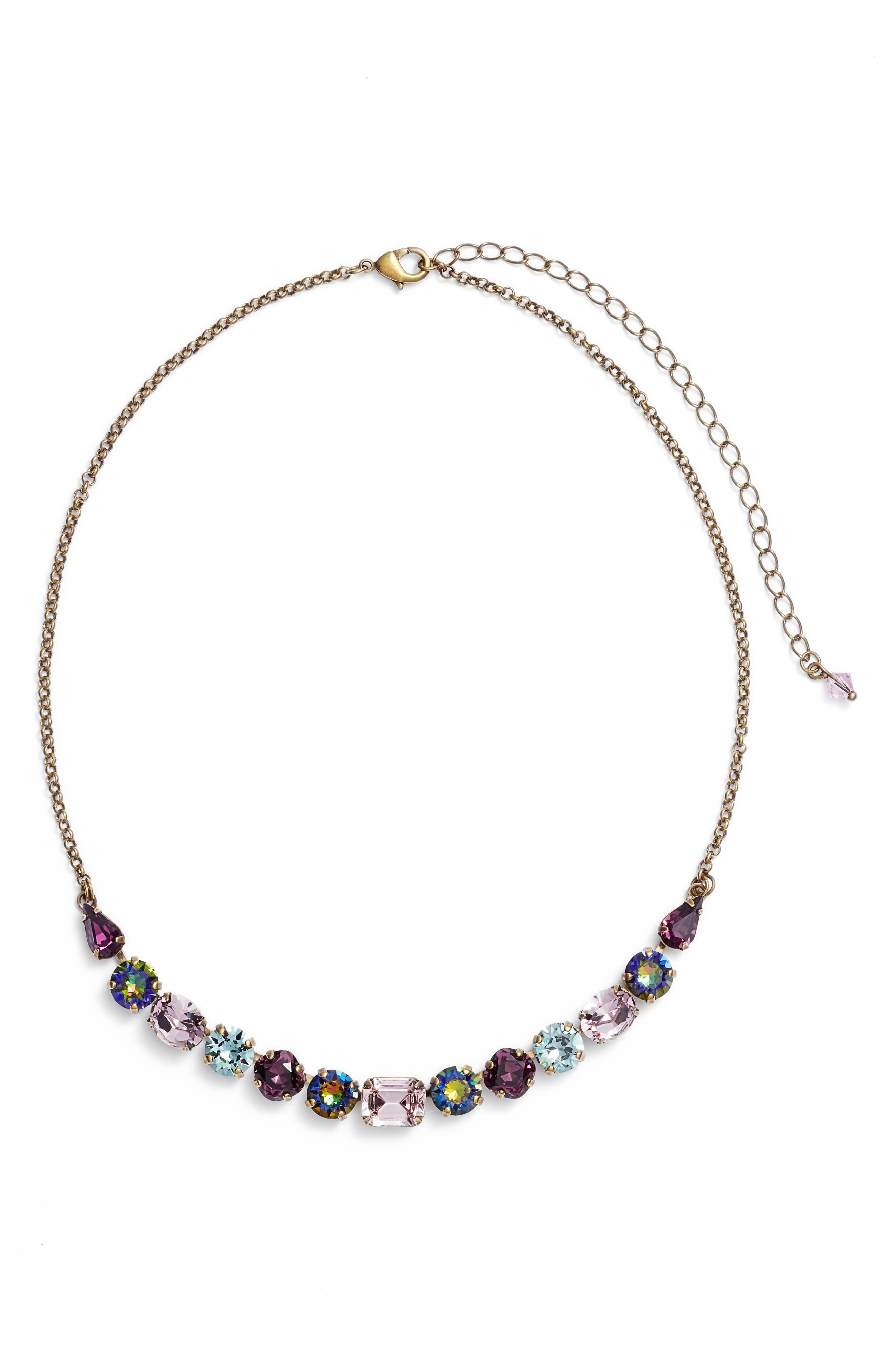 SORRELLI Tansy Crystal Necklace in Purple Multi