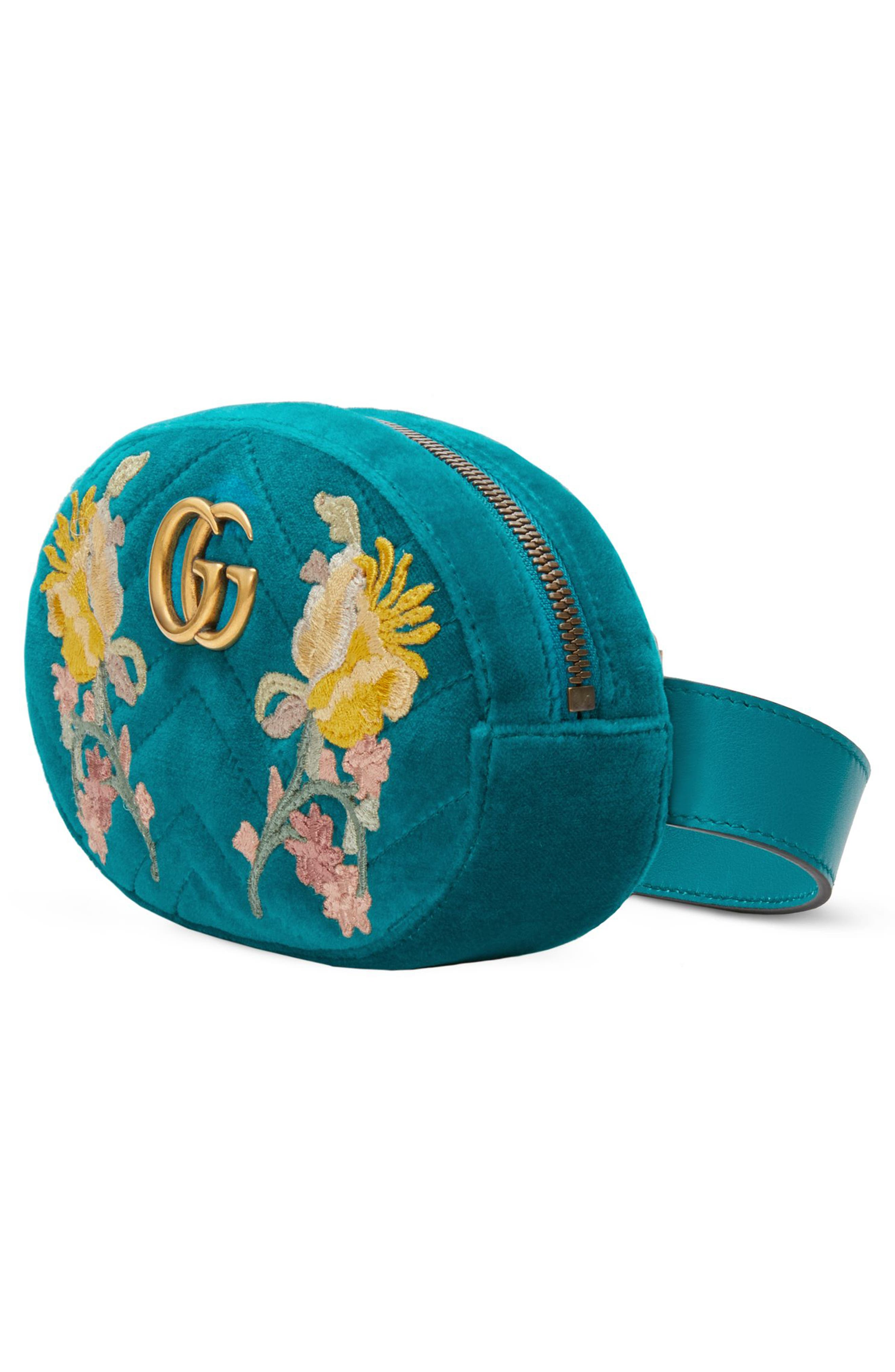 GG Marmont 2.0 Embroidered Velvet Belt Bag,                             Alternate thumbnail 4, color,                             440