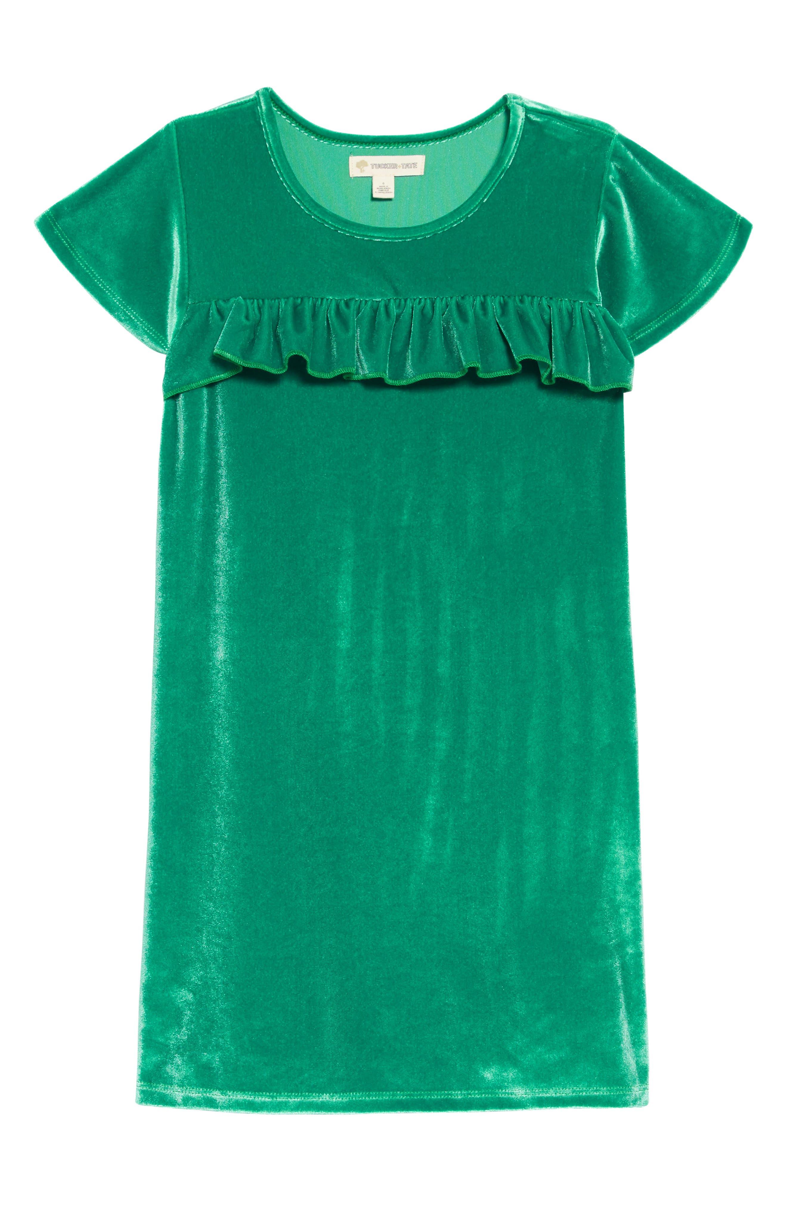 Velvet Ruffle Dress,                             Main thumbnail 1, color,                             GREEN GOLF