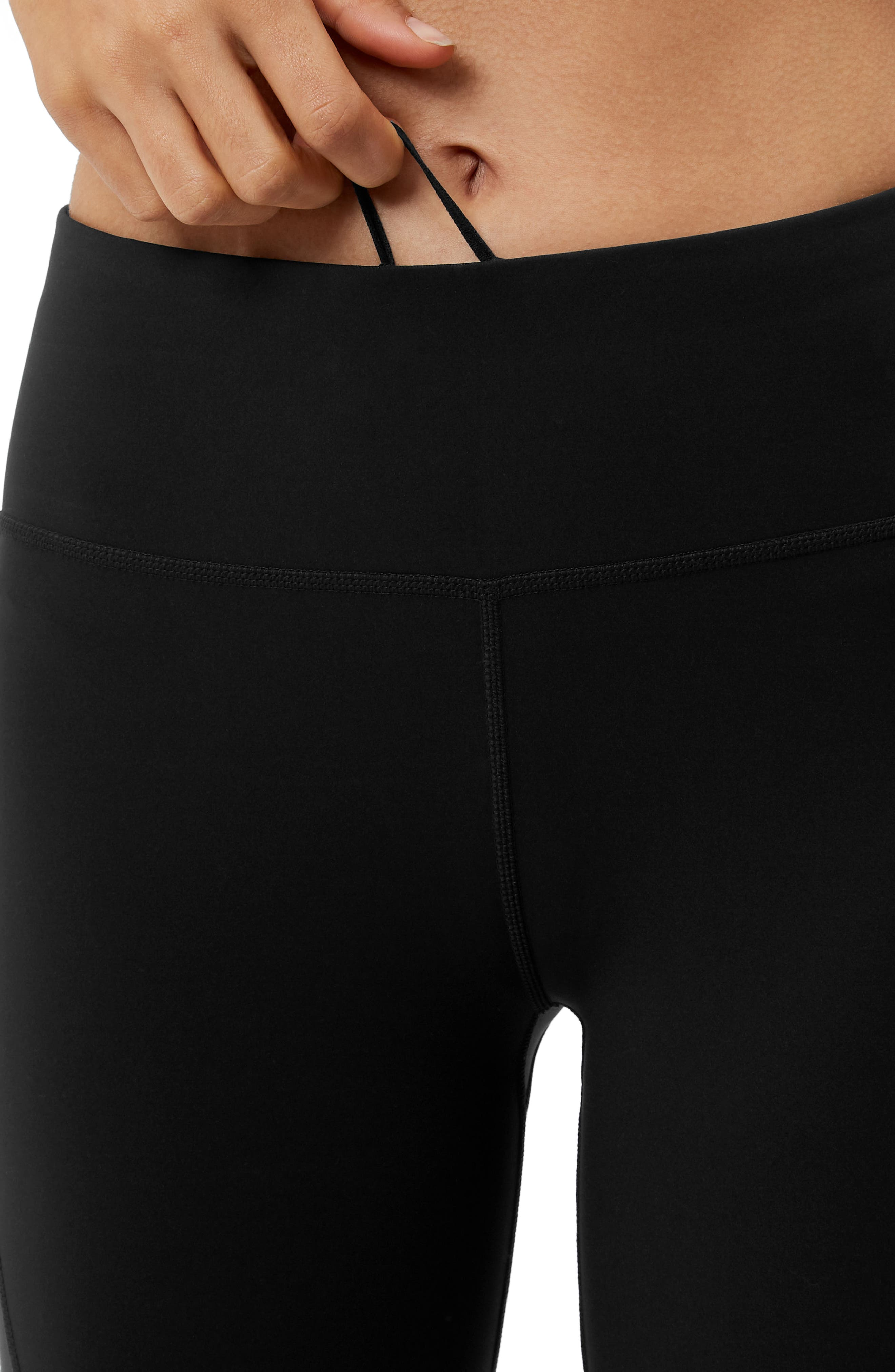 Wetlook Run Leggings,                             Alternate thumbnail 4, color,                             BLACK