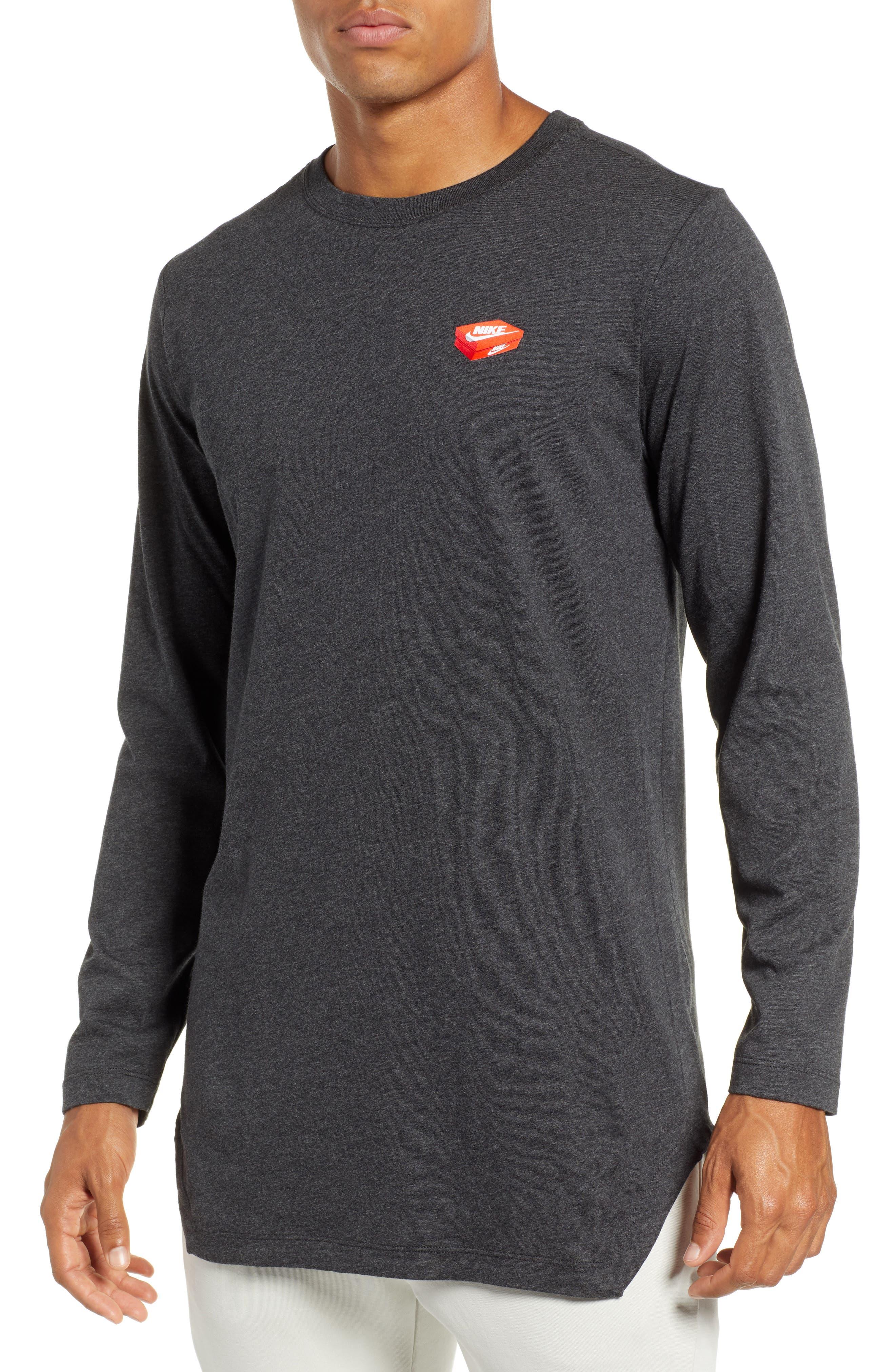 Nike Nsw Shoe Box Graphic Long Sleeve T-Shirt Grey
