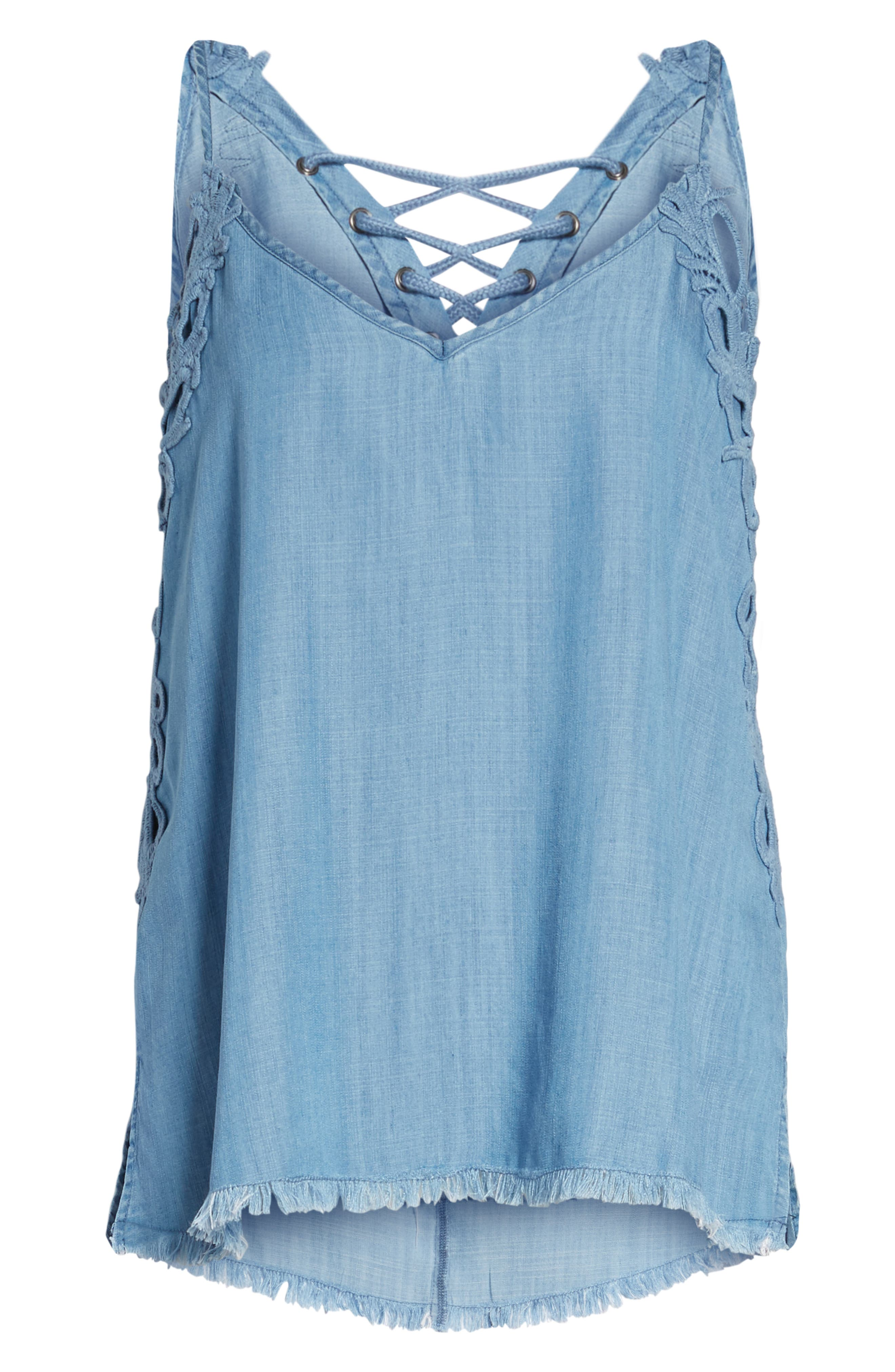 Chambray Camisole Top,                             Alternate thumbnail 6, color,                             BLUE