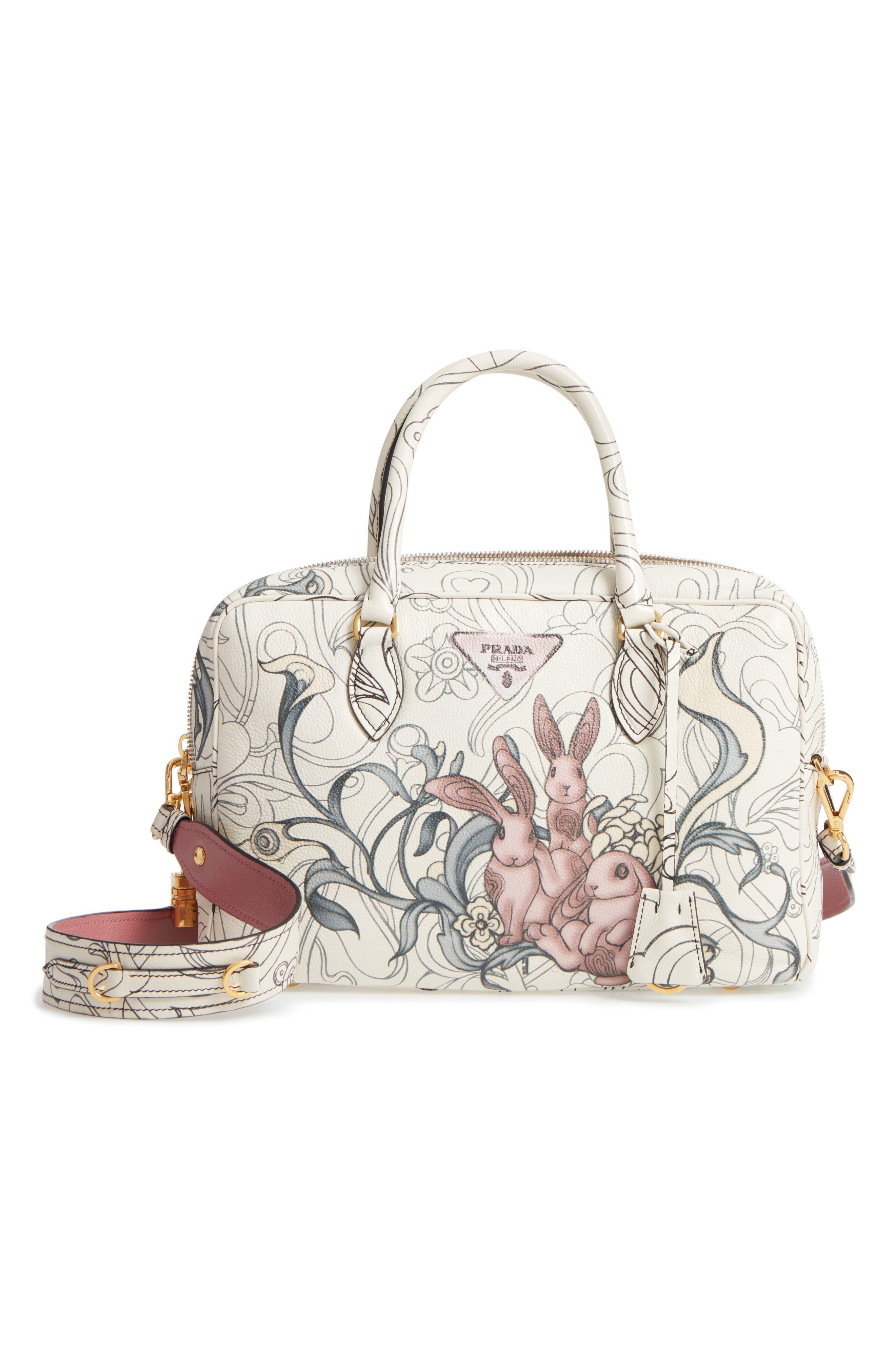 Glace Calfskin Rabbit Bowler Bag,                         Main,                         color, 100