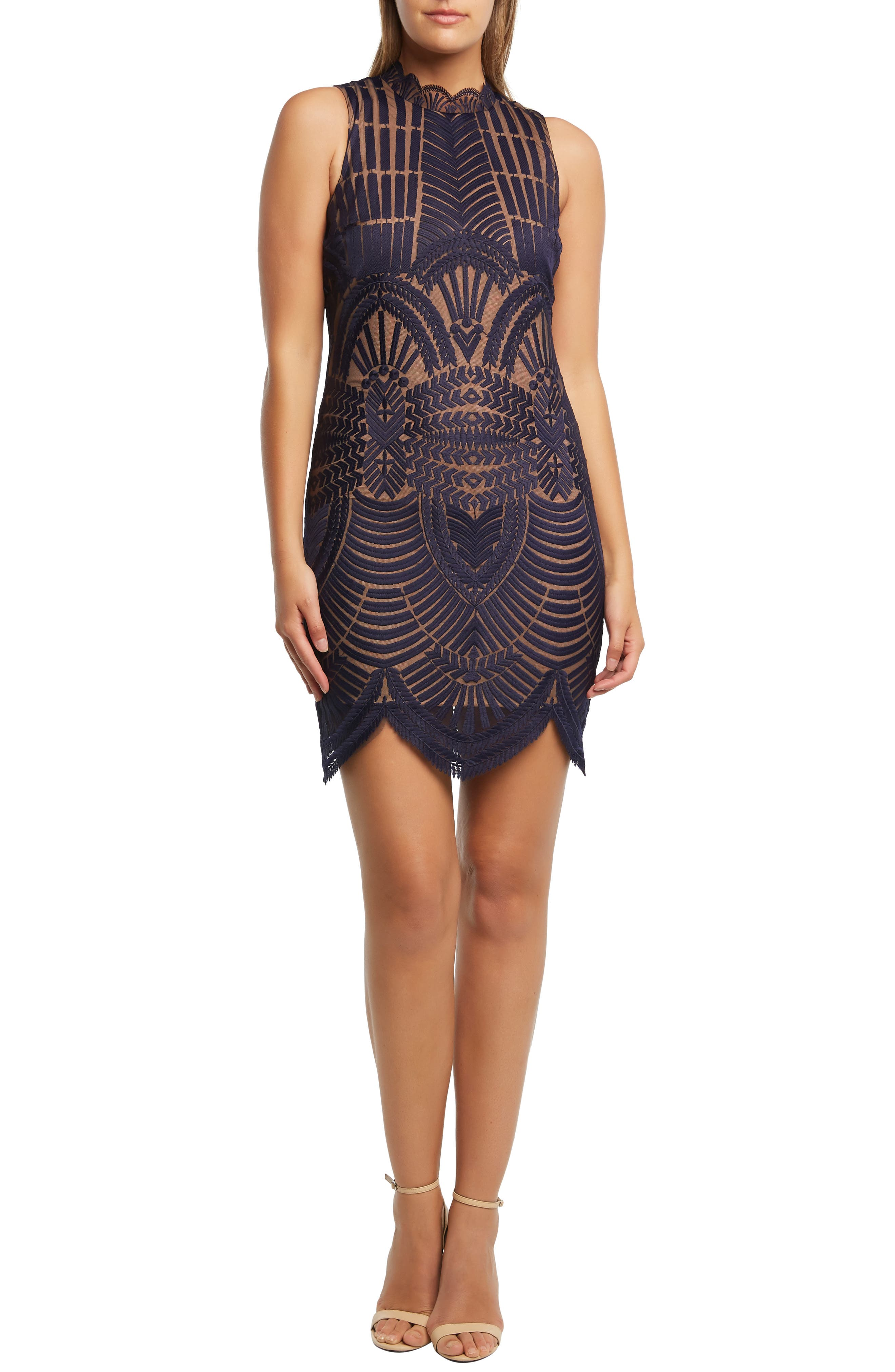 Bardot Alice Lace Body-Con Dress, Blue