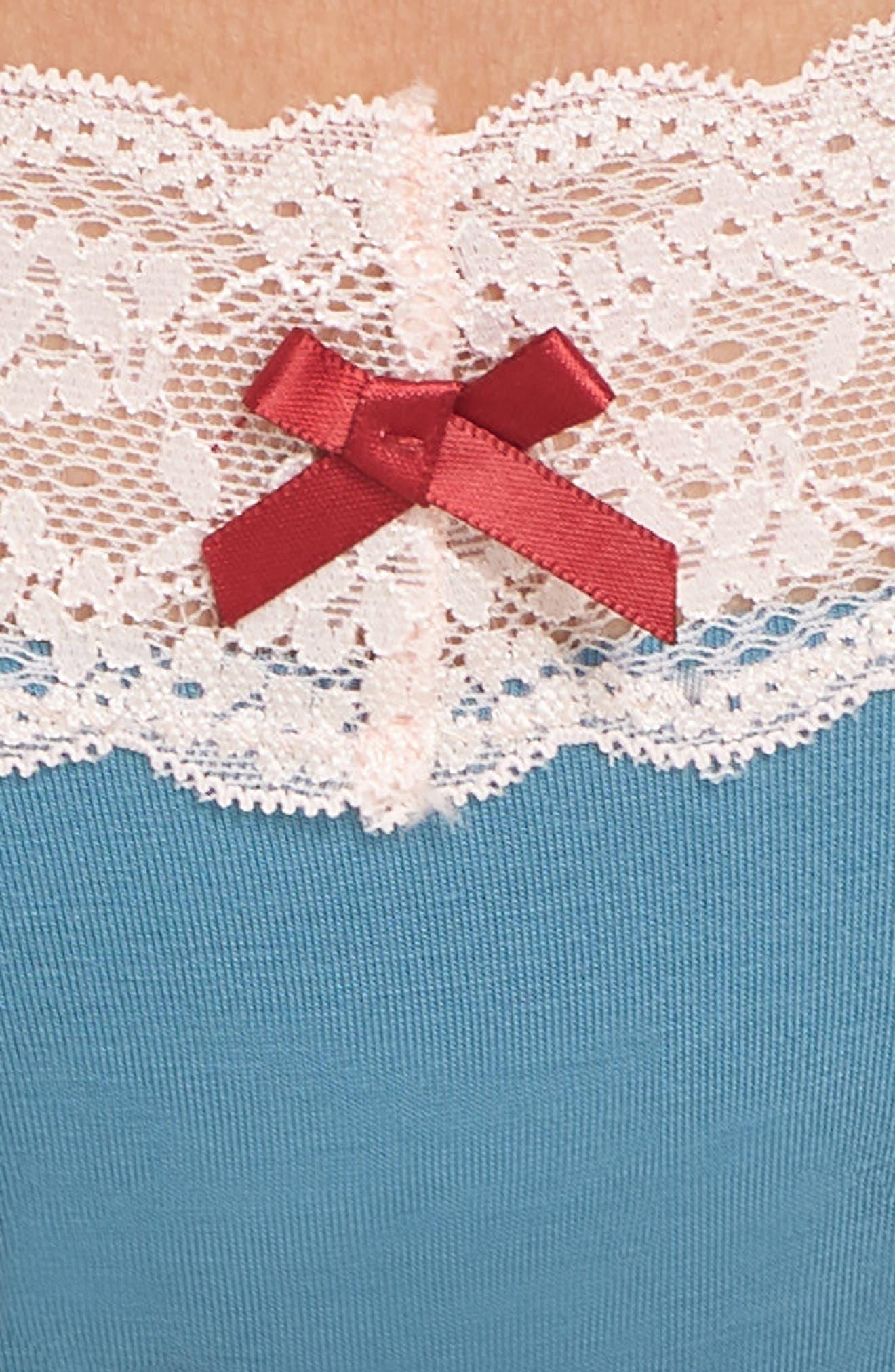 Lace Trim Low Rise Thong,                             Alternate thumbnail 5, color,                             TONIC