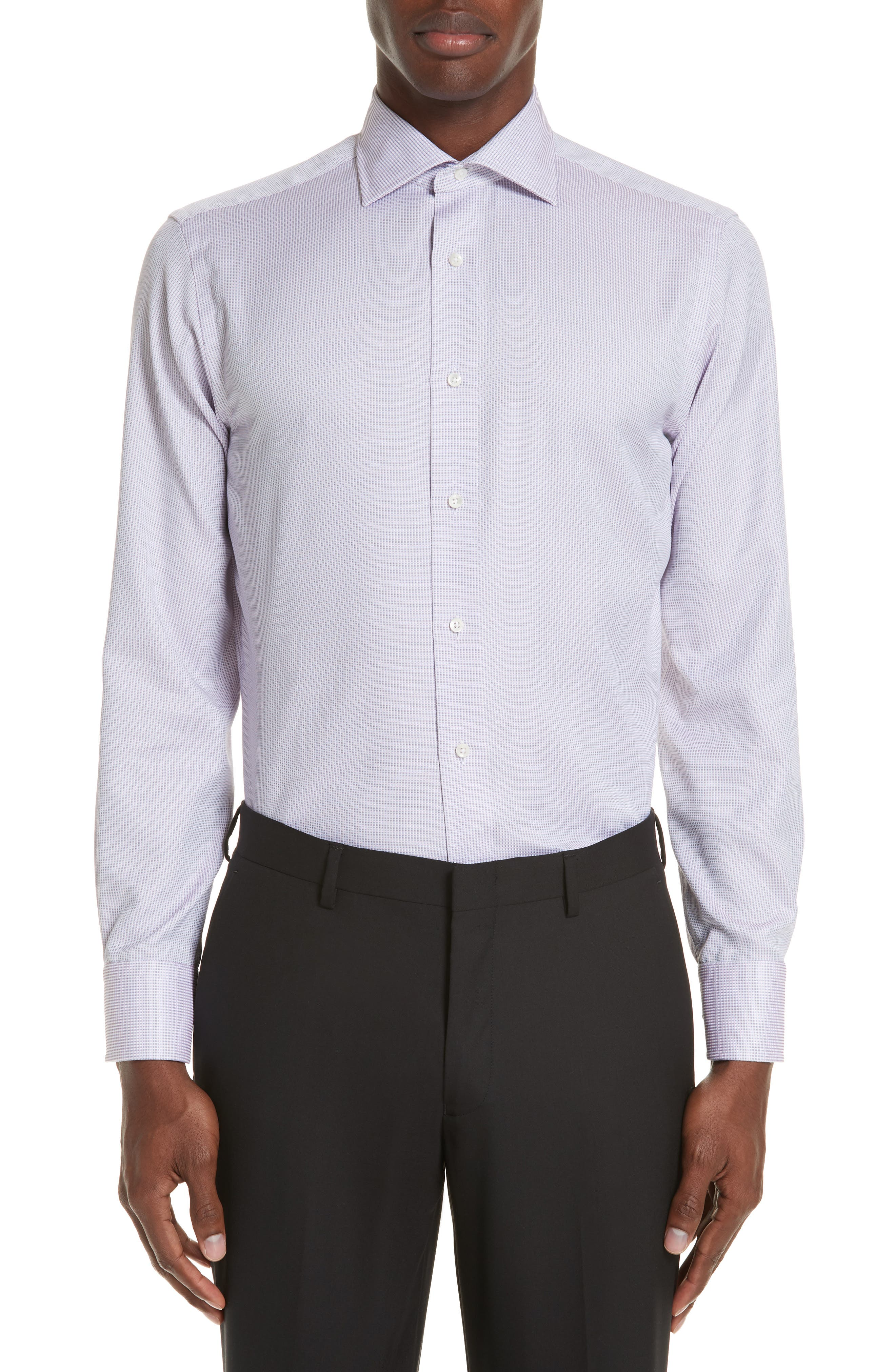 Regular Fit Stripe Dress Shirt,                         Main,                         color, LIGHT PINK