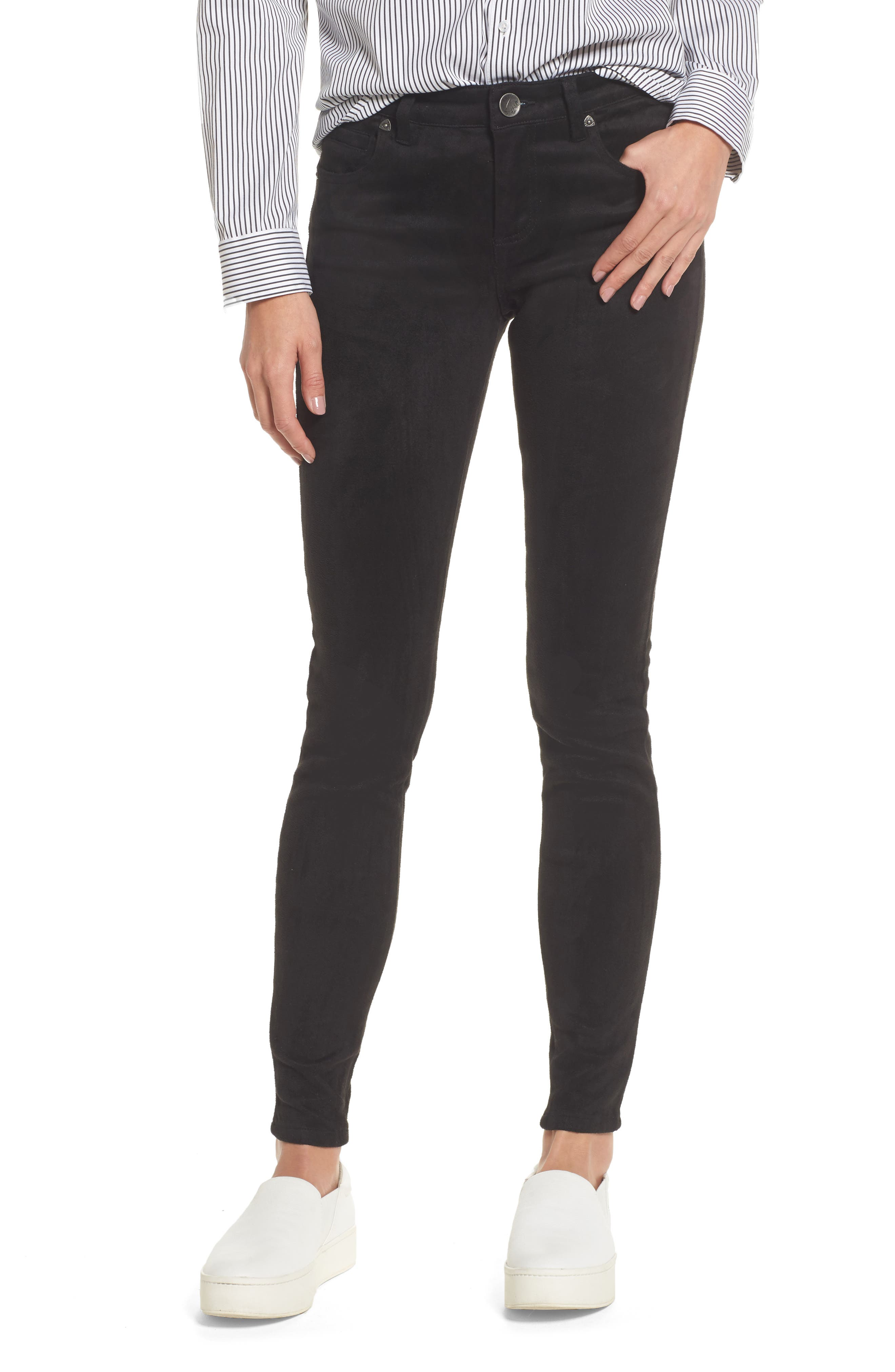Mia Faux Suede Skinny Jeans,                             Main thumbnail 1, color,                             002