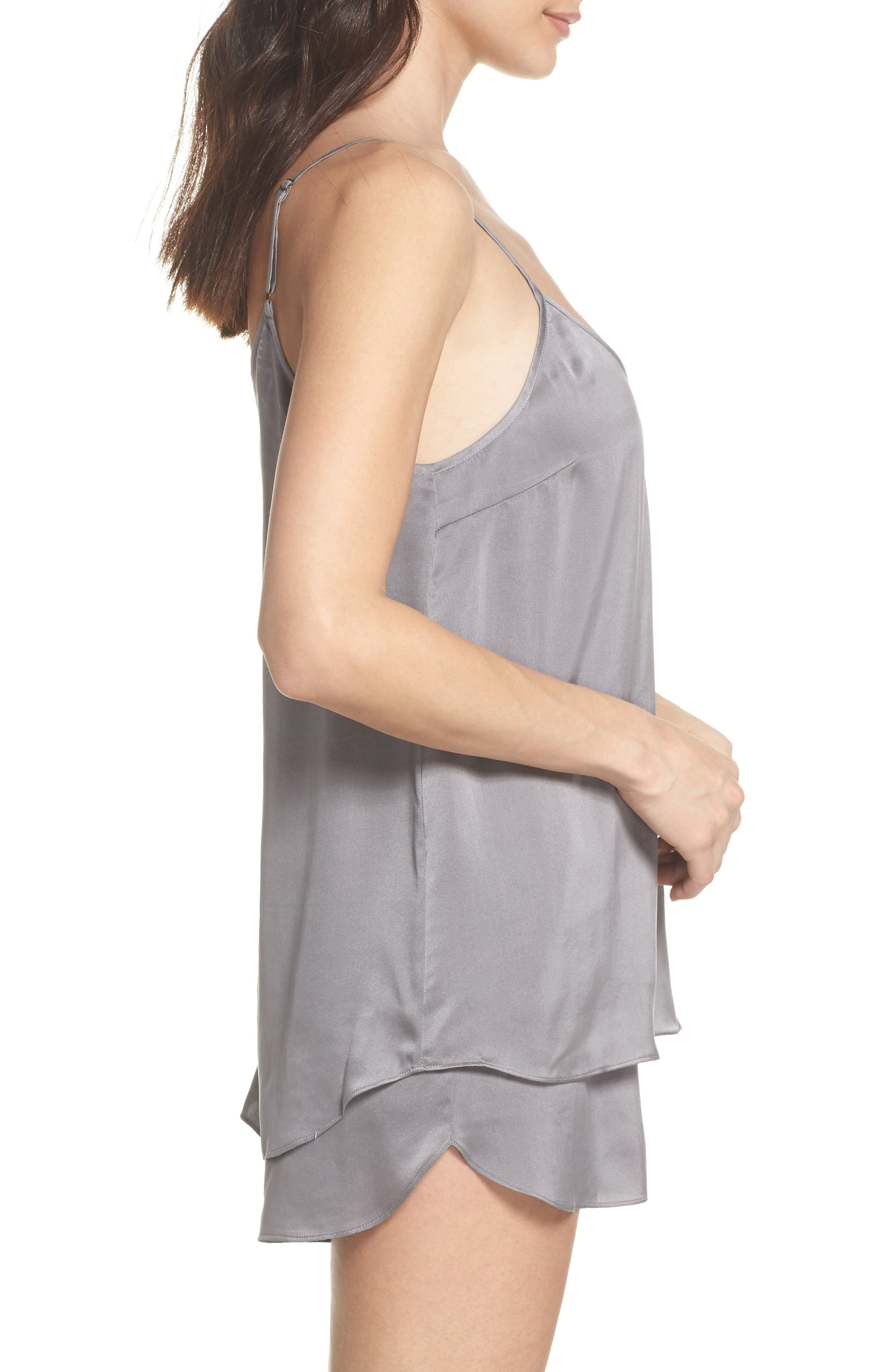 Short Silk Pajamas,                             Alternate thumbnail 3, color,                             CHARCOAL