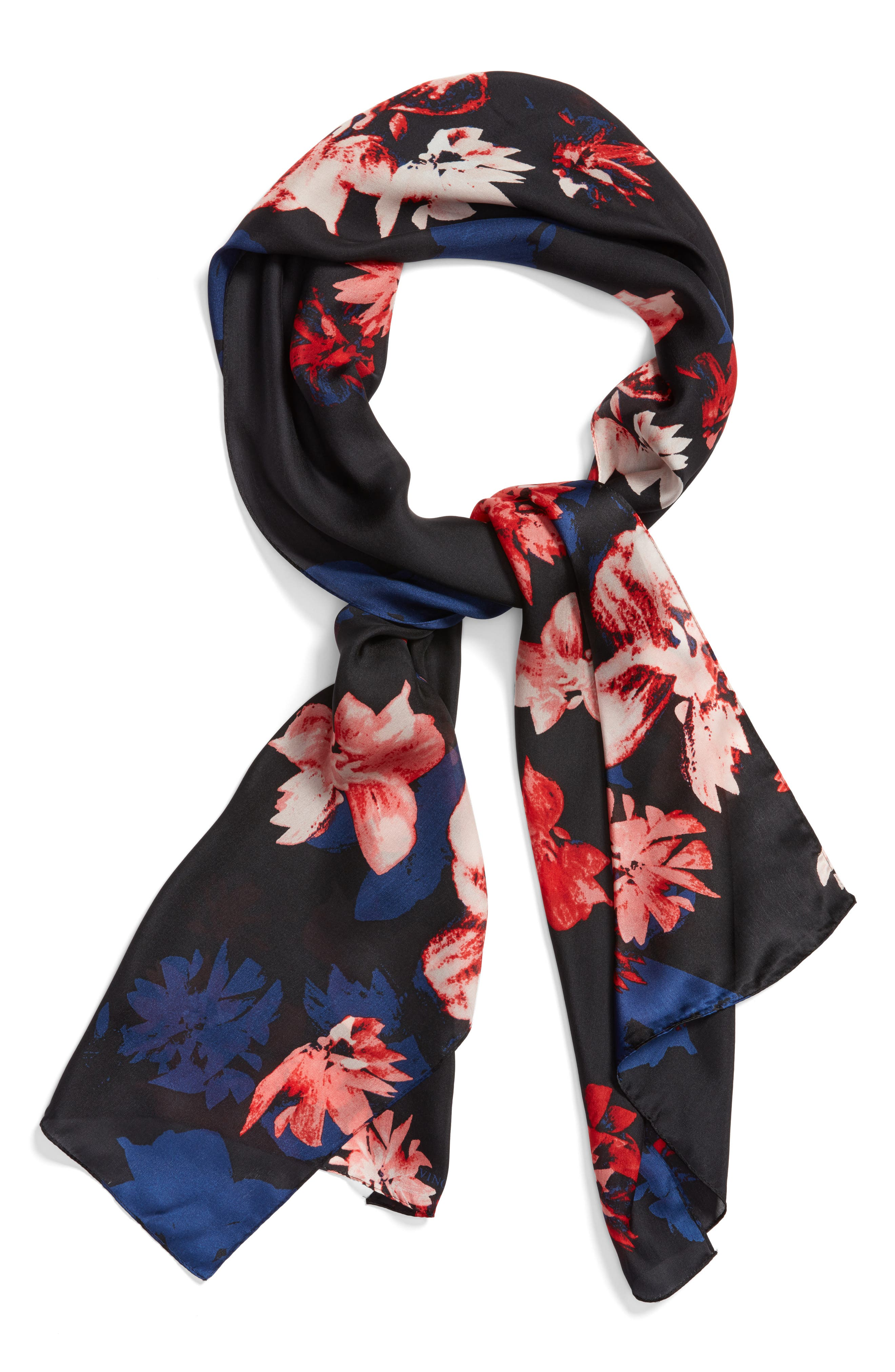 Floral Print Brushed Silk Scarf,                             Alternate thumbnail 2, color,                             001