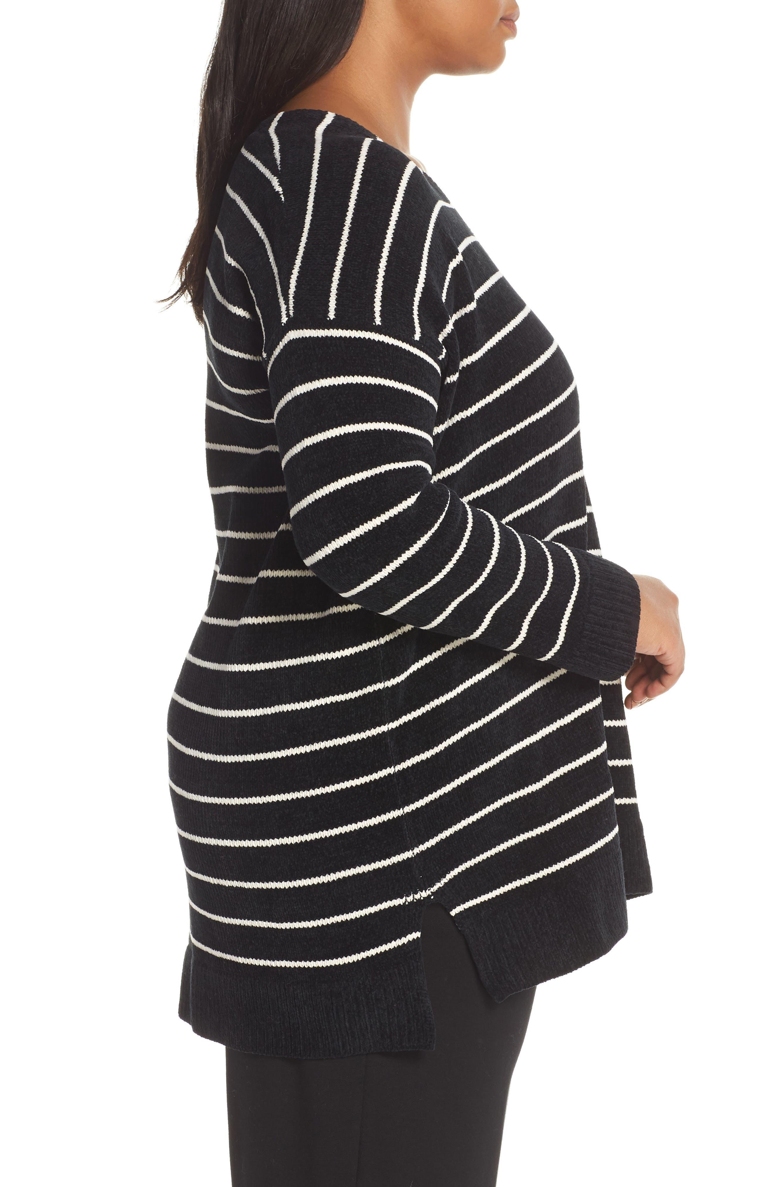 Stripe Organic Cotton Sweater,                             Alternate thumbnail 3, color,                             BLACK/ SOFT WHITE