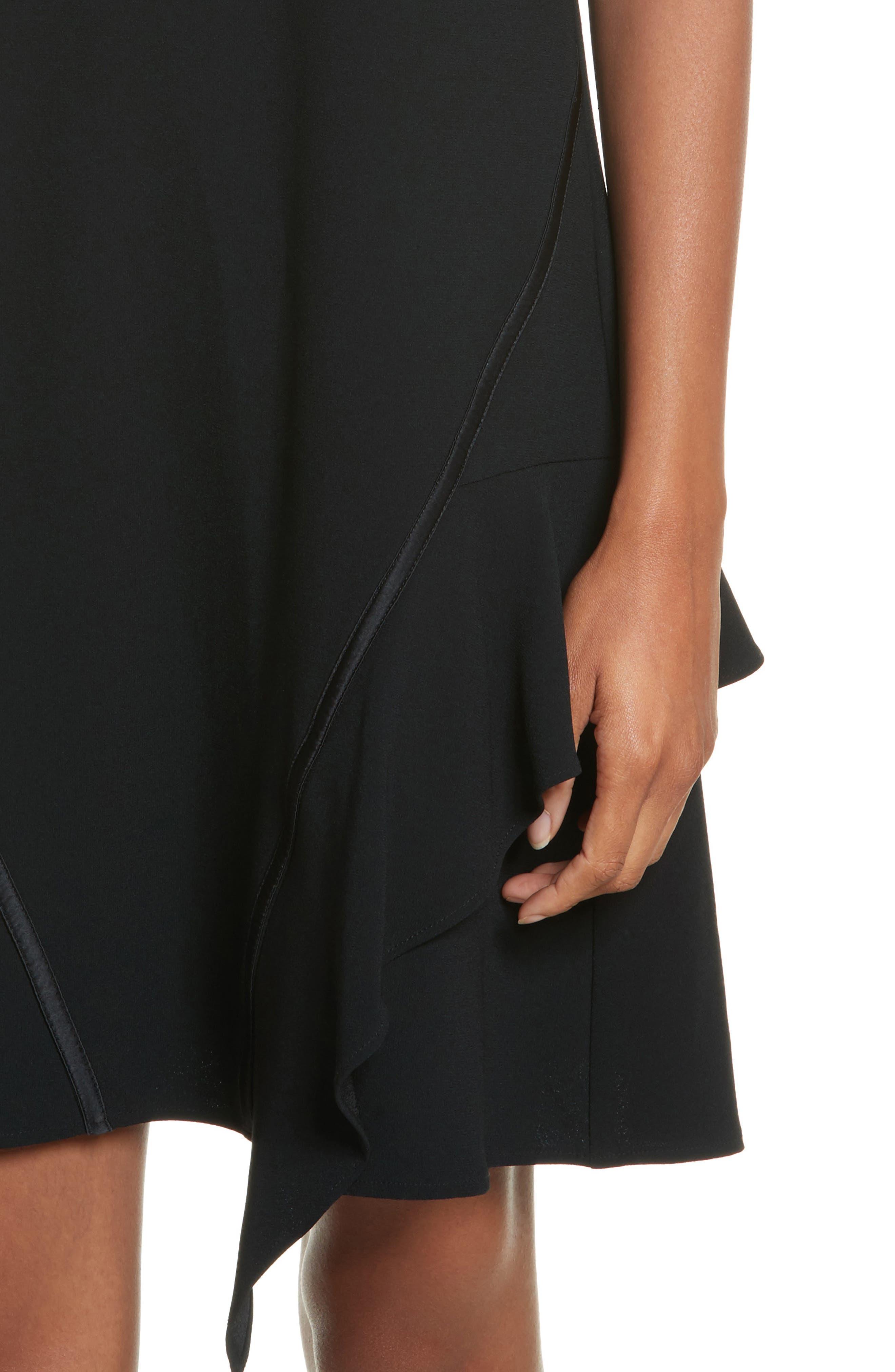 Satin Back Crepe Off the Shoulder Dress,                             Alternate thumbnail 4, color,                             002