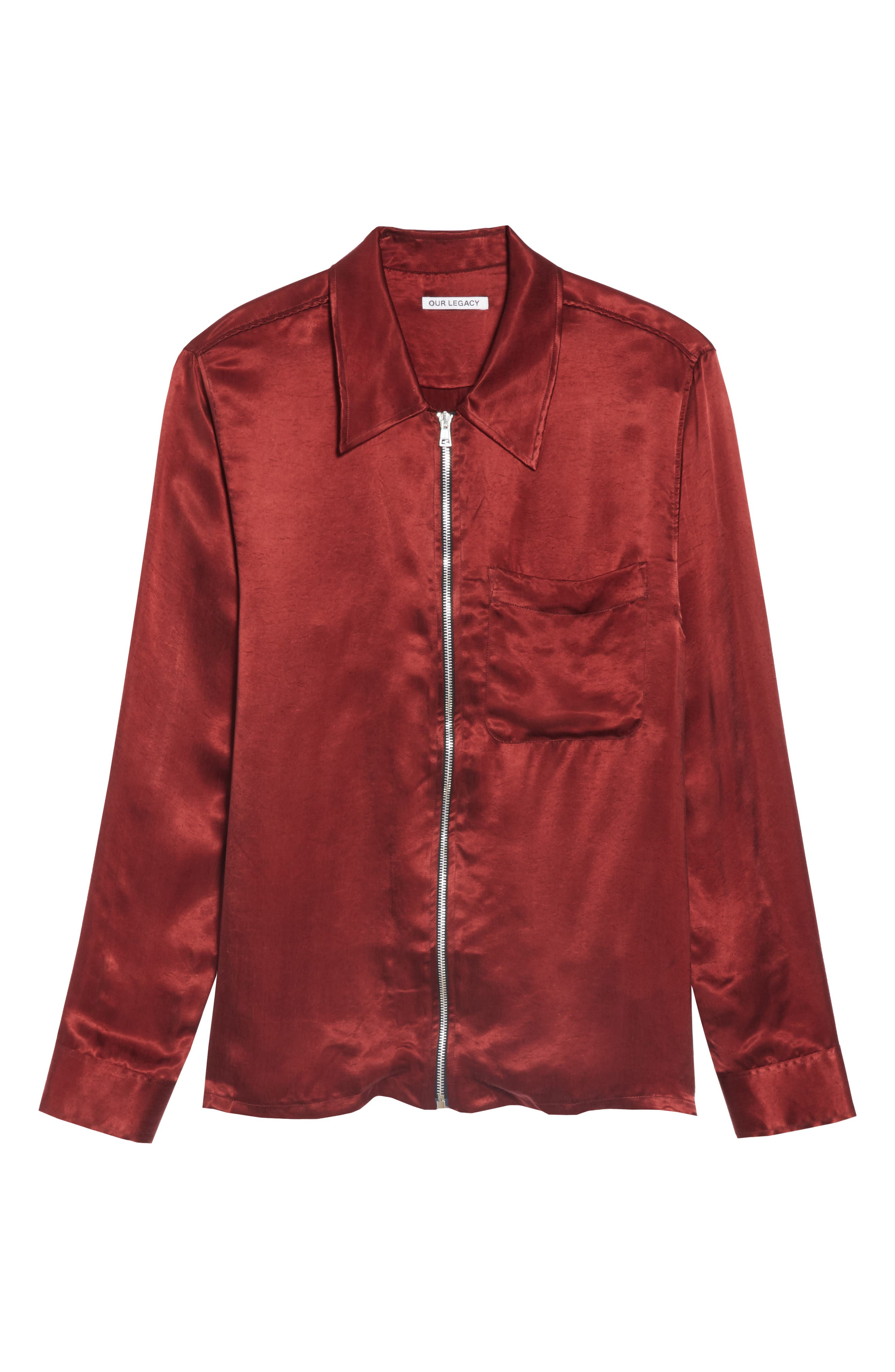 Long Sleeve Zip Shirt,                             Alternate thumbnail 6, color,                             RED
